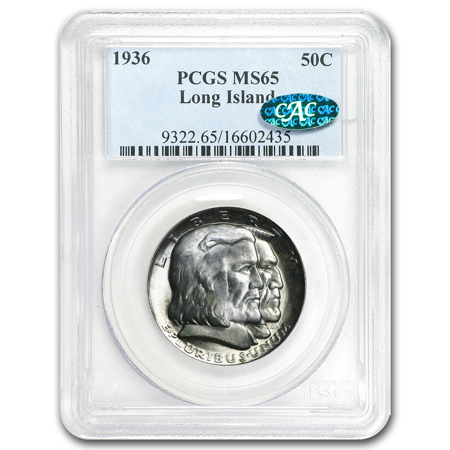 1936 Long Island Tercentenary Half Dollar MS-65 PCGS (CAC)