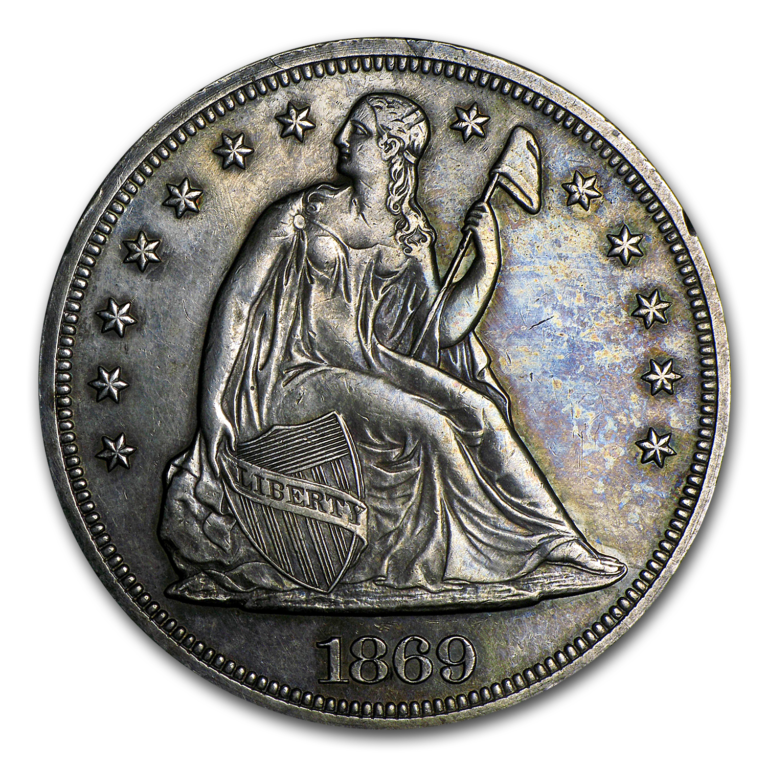 1869 Liberty Seated Dollar AU