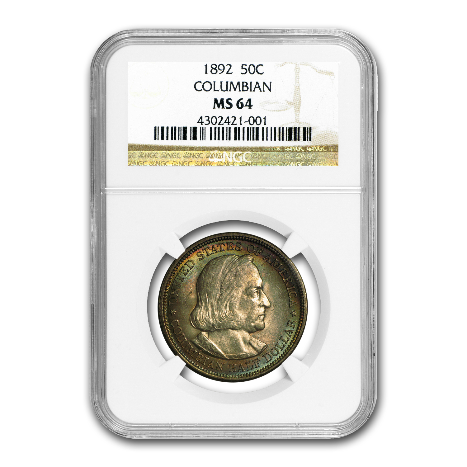 1892 Columbian Expo Half Dollar MS-64 NGC (Beautifully Toned)
