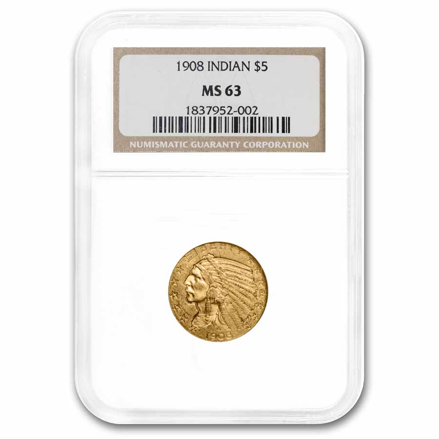 1908 $5 Indian Gold Half Eagle MS-63 NGC