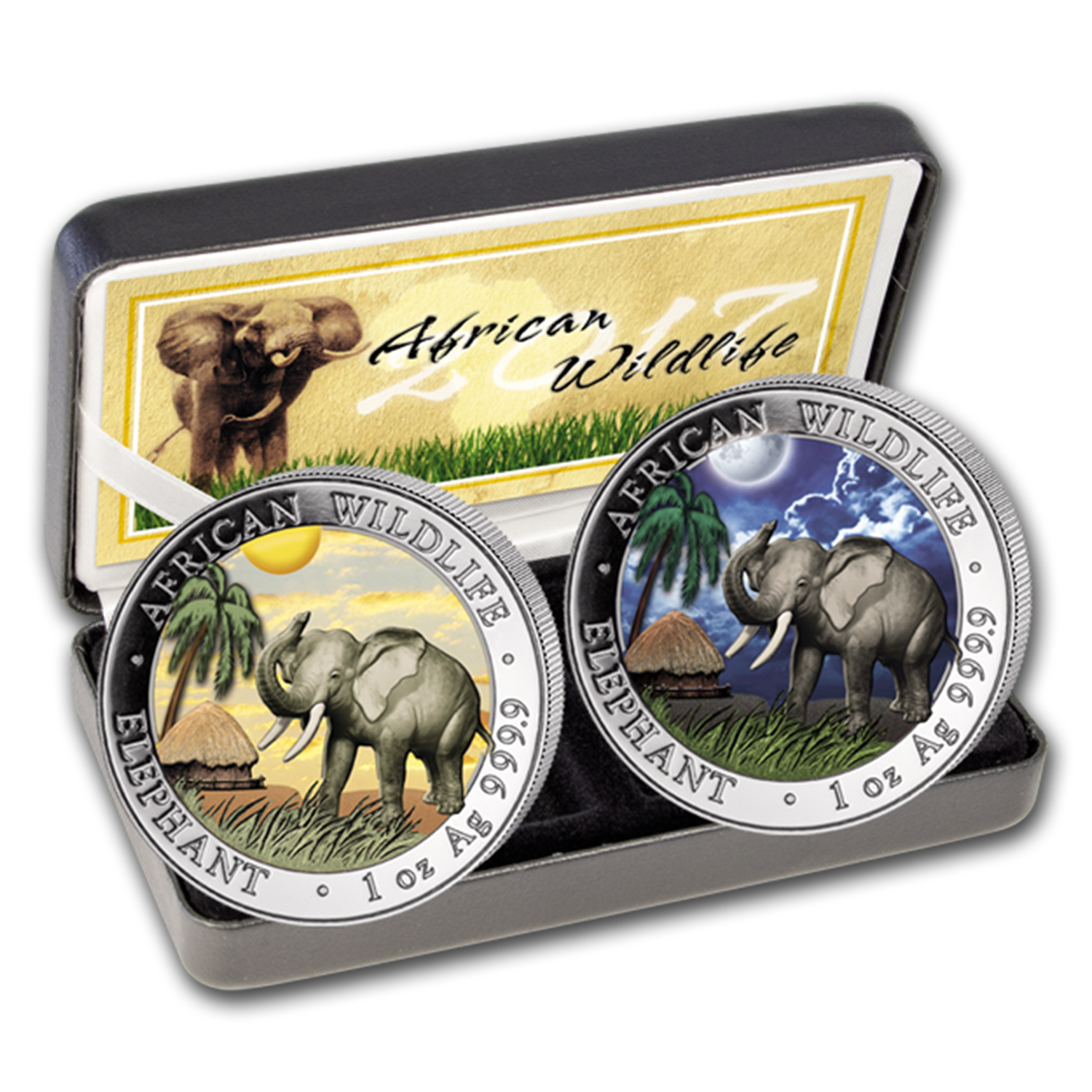 2017 Somalia 2-Coin 1 oz Silver Elephant Set Day/Night (Colored)