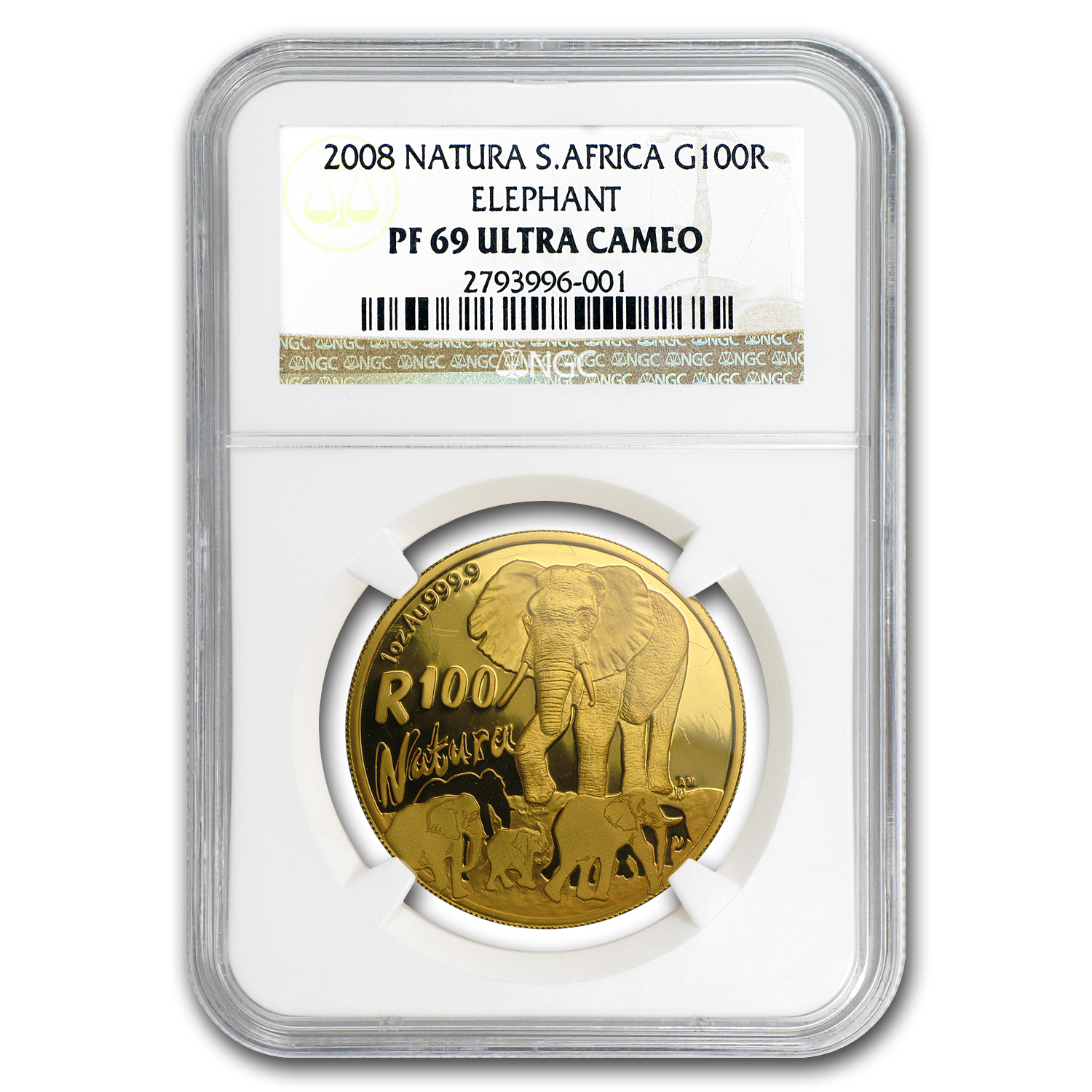 2008 South Africa 1 oz Proof Gold Natura Elephant PF-69 NGC