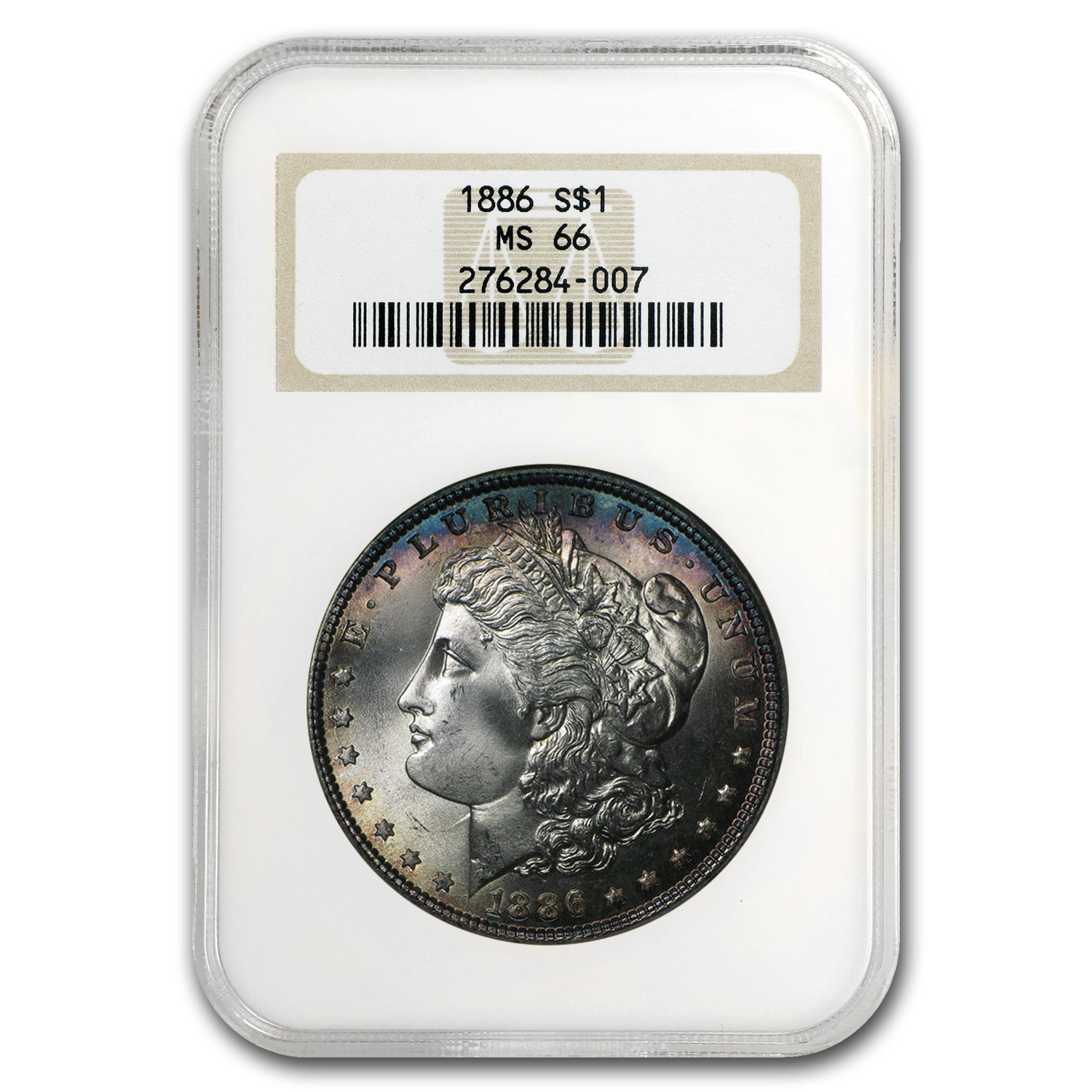 1886 Morgan Dollar MS-66 NGC (Obv Blue Peripheral Toning)