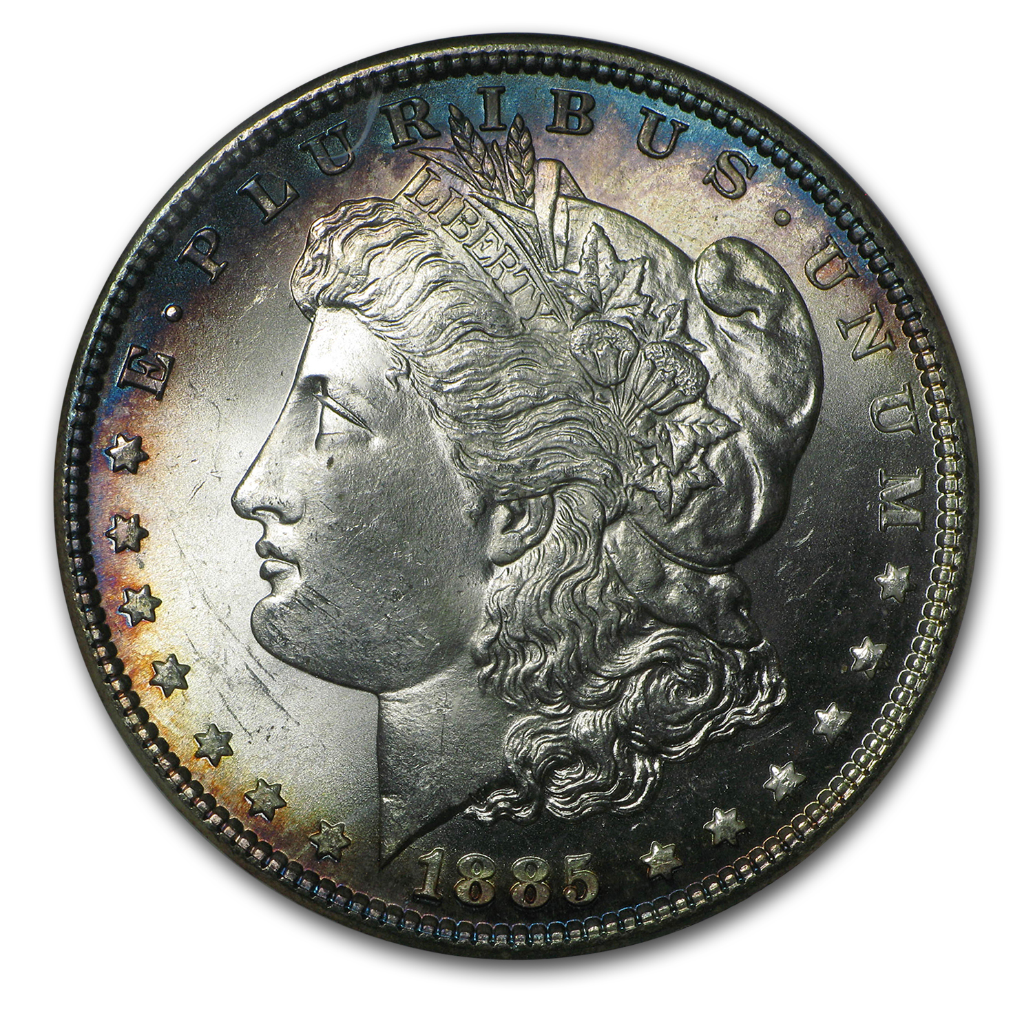1885 Morgan Dollar MS-65 NGC (Blue Obv Peripheral Toning)