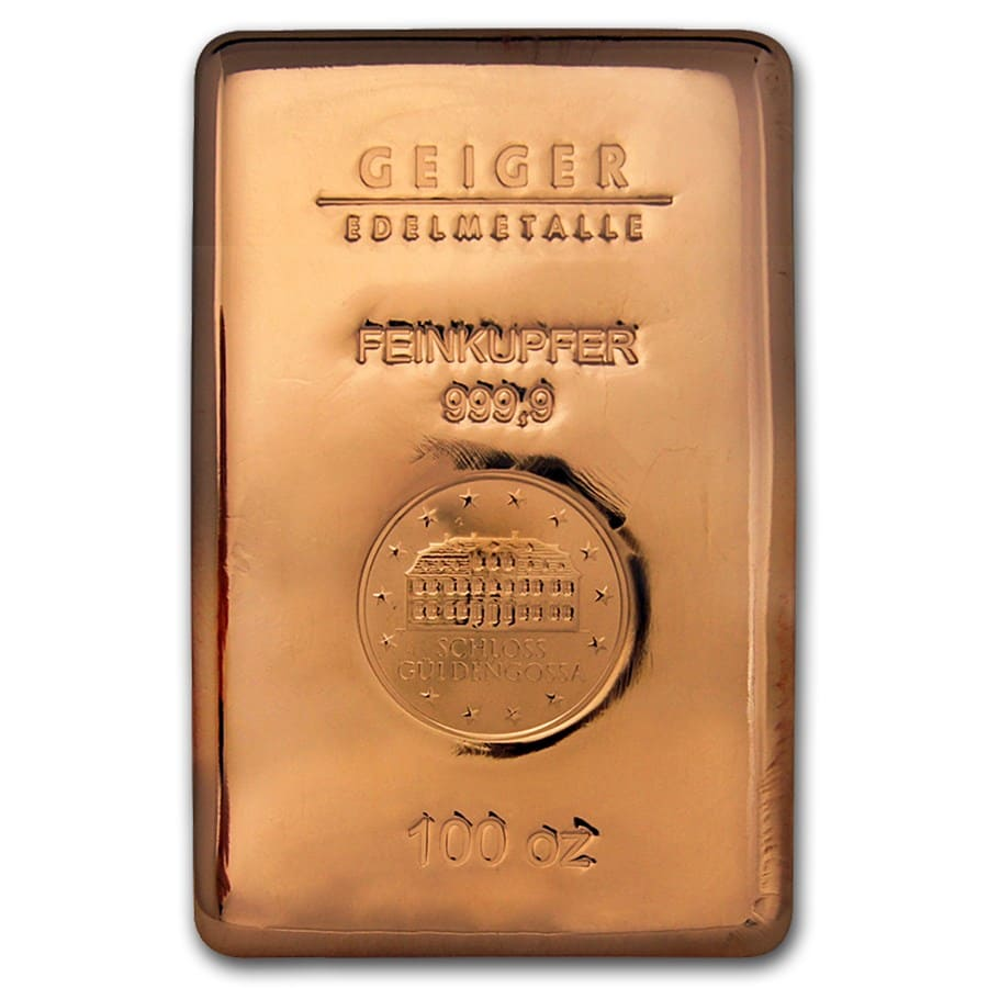 100 oz Copper Bar - Geiger (Poured, .9999 Fine)