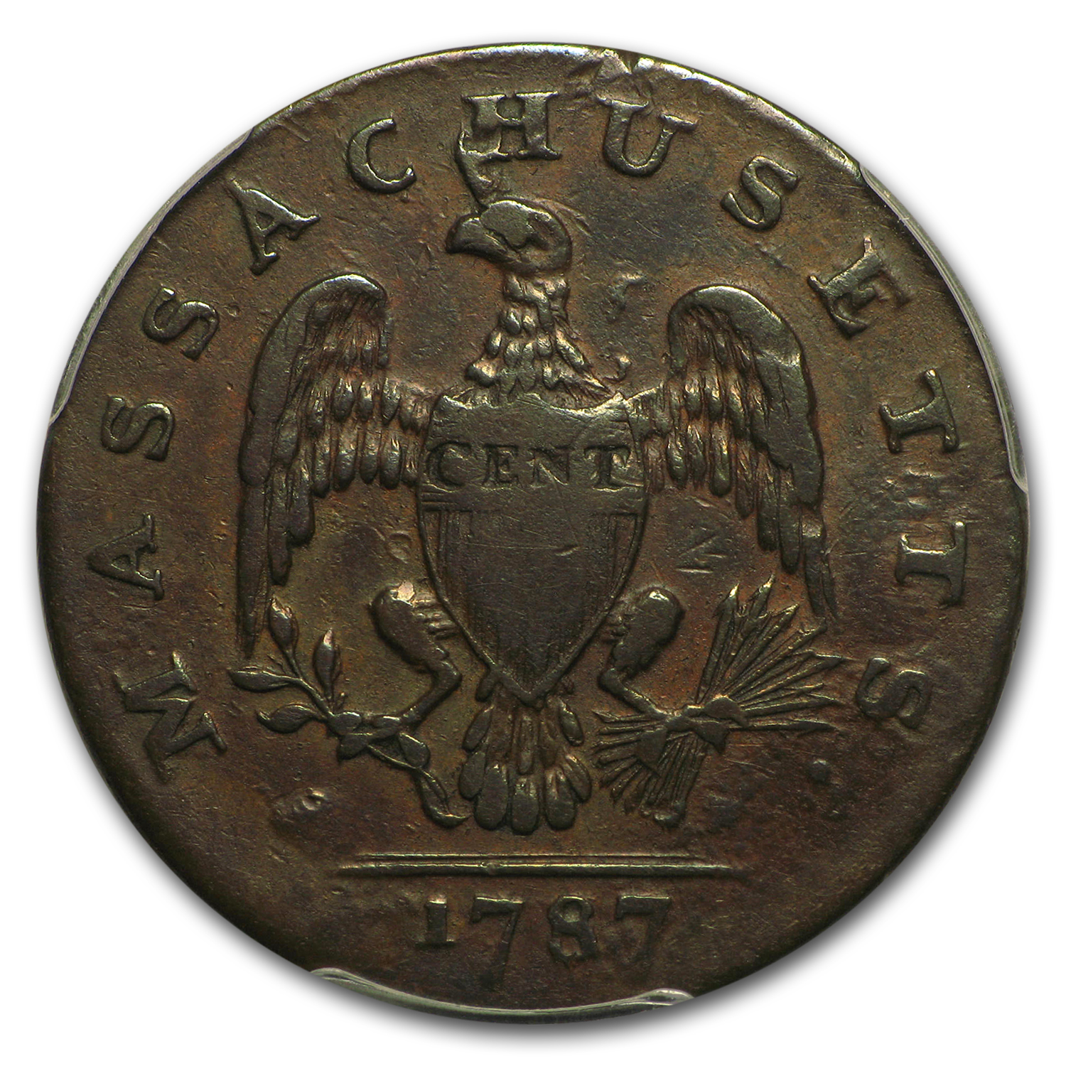 1787 Massachusetts Cent VF-25 PCGS (Horned Eagle)