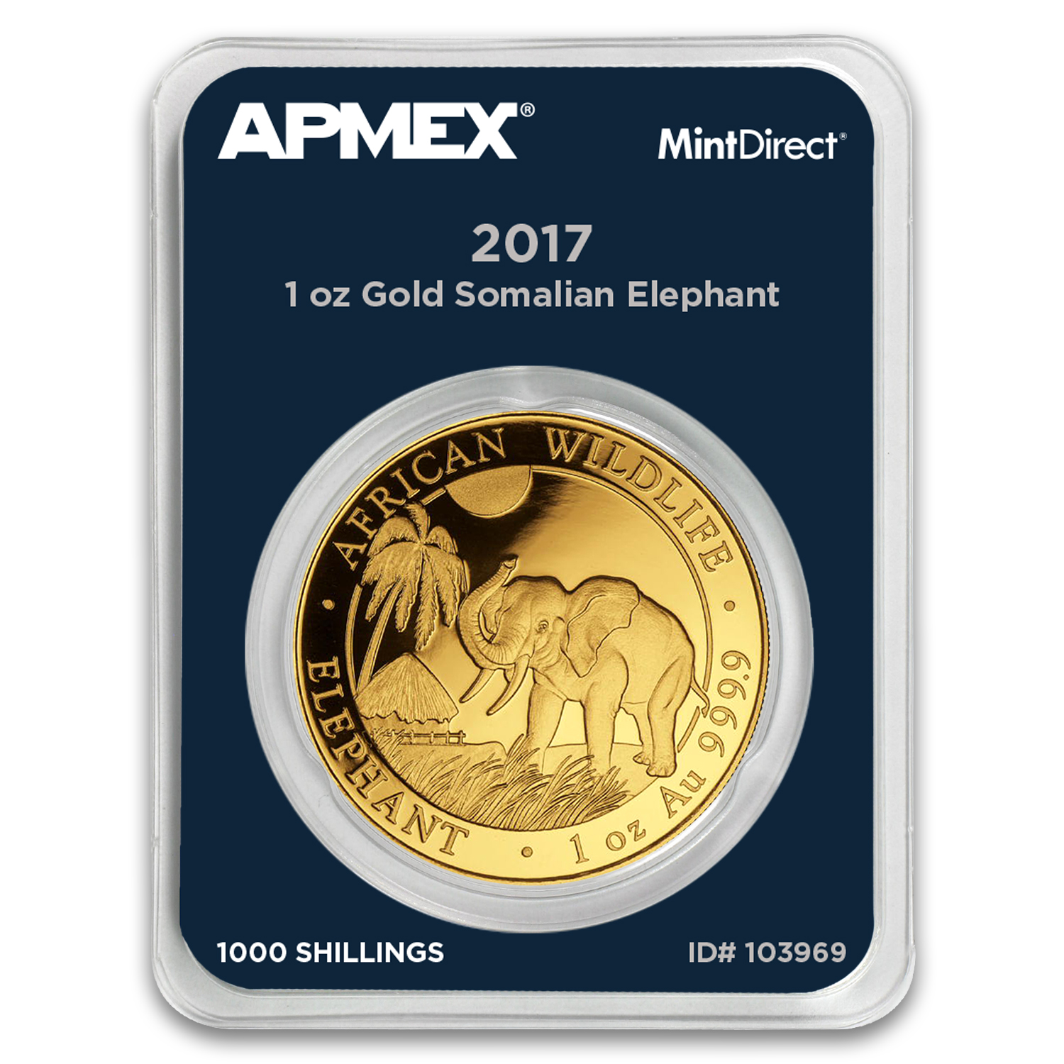 2017 Somalia 1 oz Gold African Elephant (MintDirect® Single)