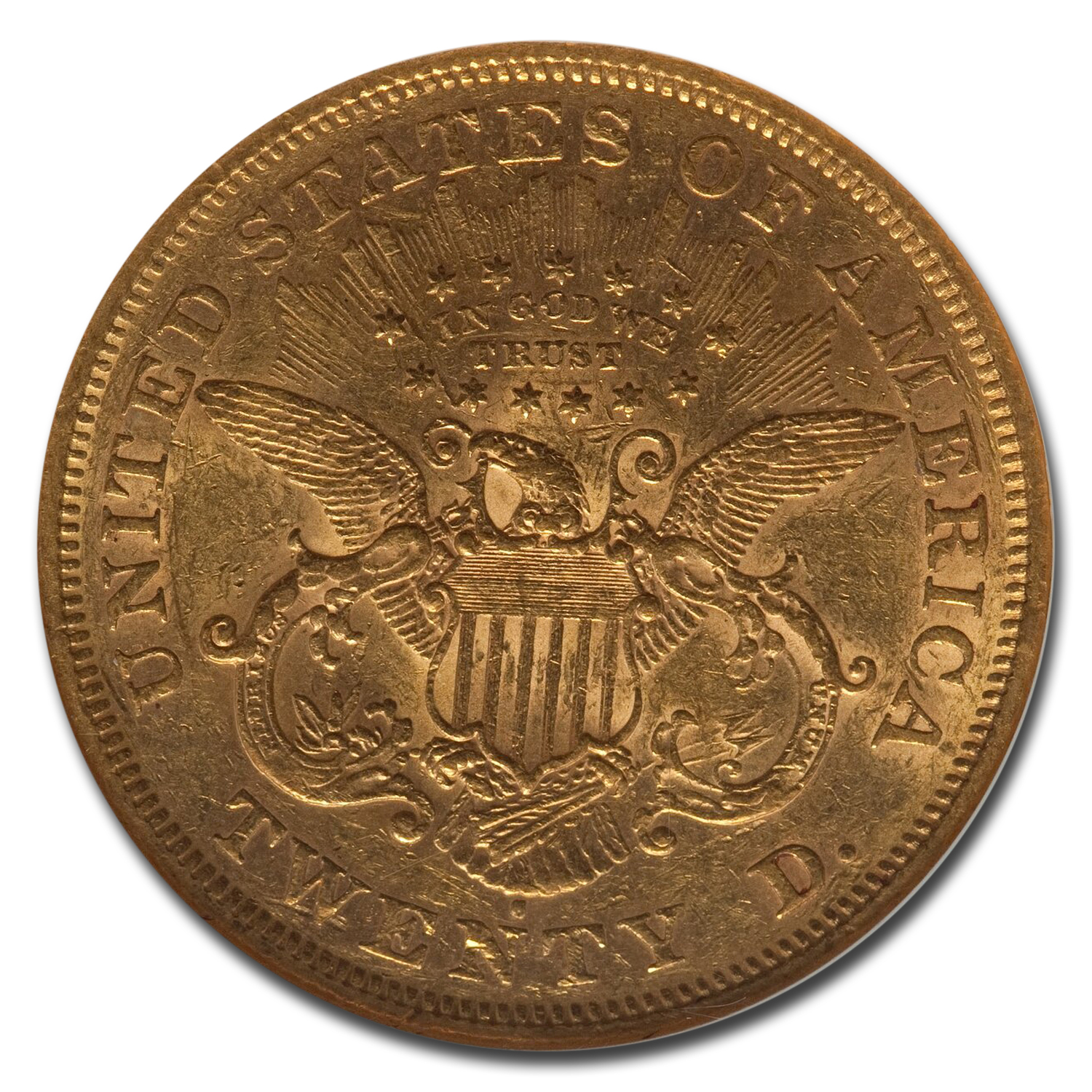 1872-S $20 Liberty Gold Double Eagle AU-53 NGC