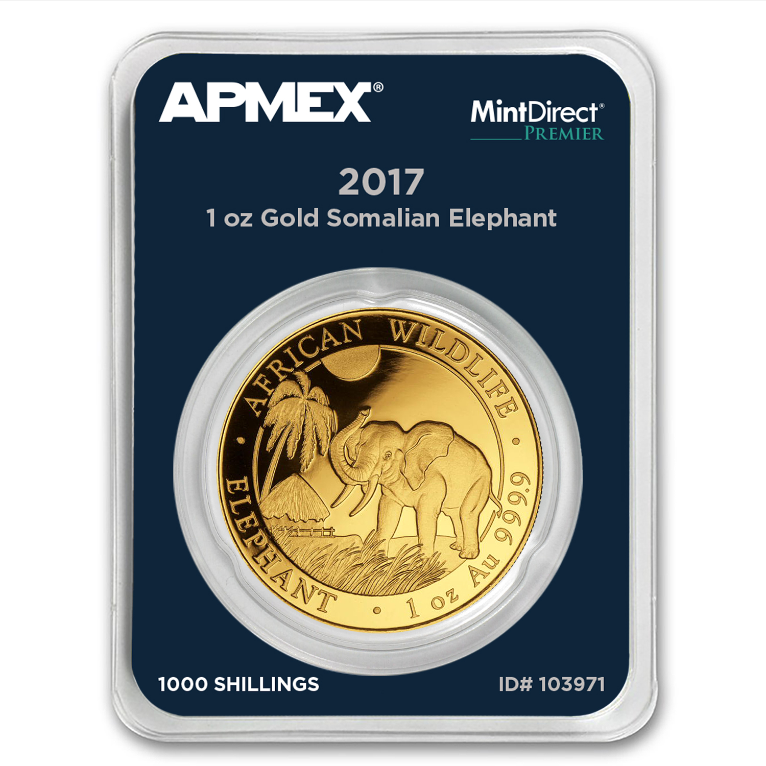 2017 Somalia 1 oz Gold Elephant (MintDirect® Premier Single)