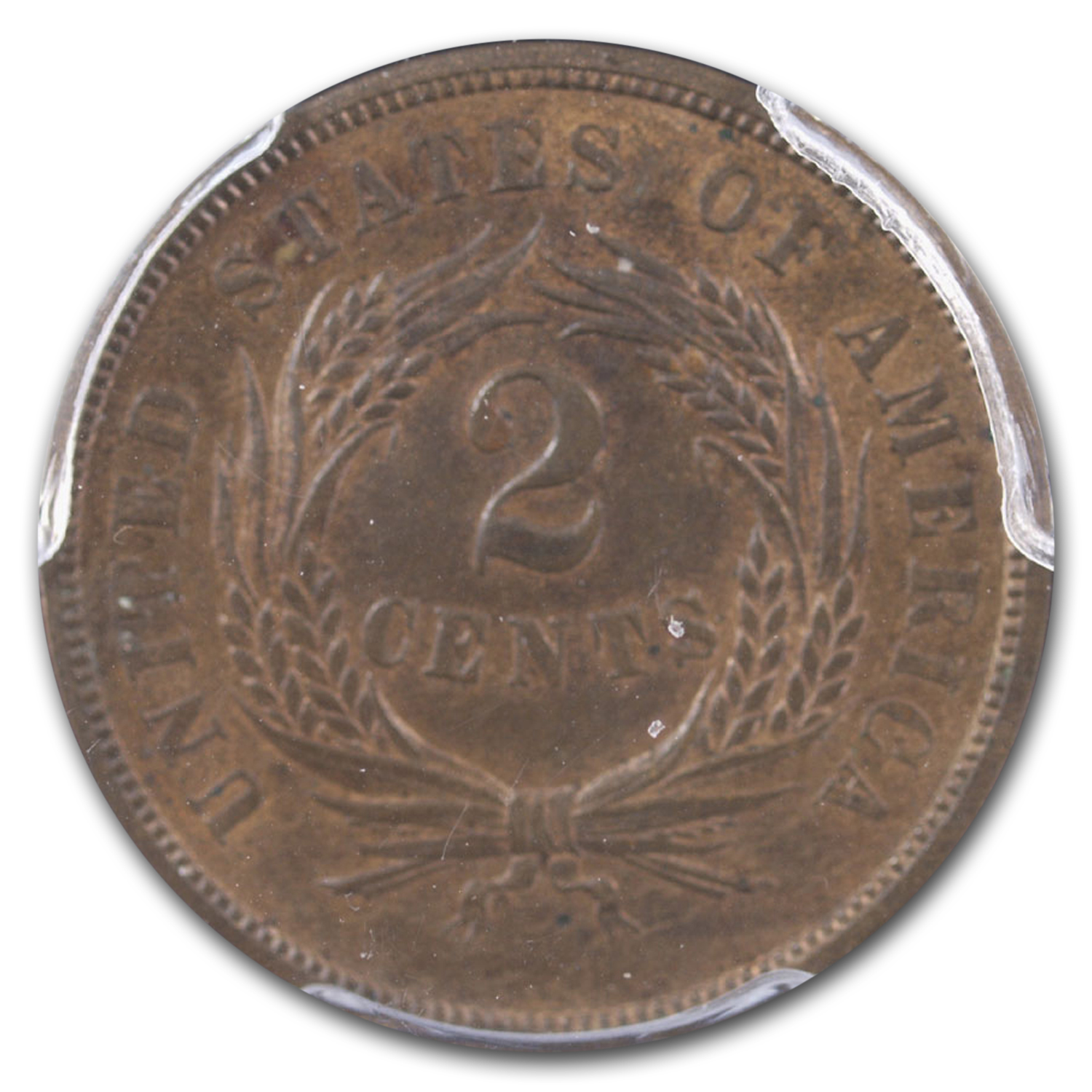 1866 Two Cent Piece MS-63 PCGS (Red/Brown)