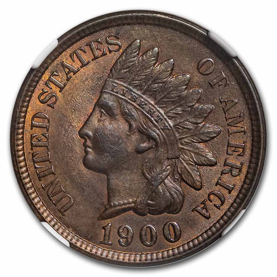 1900 Indian Head Cent MS-64 NGC (Red/Brown)