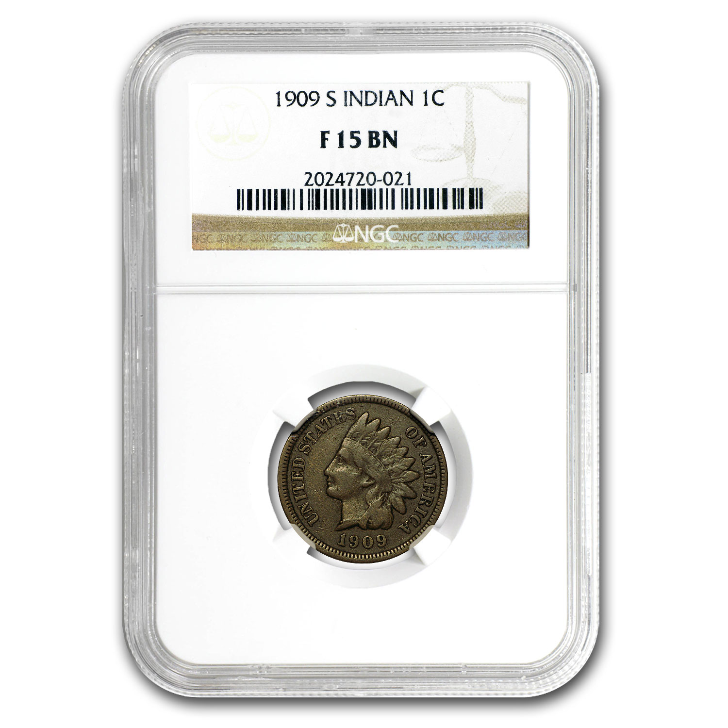 1909-S Indian Head Cent Fine-15 NGC
