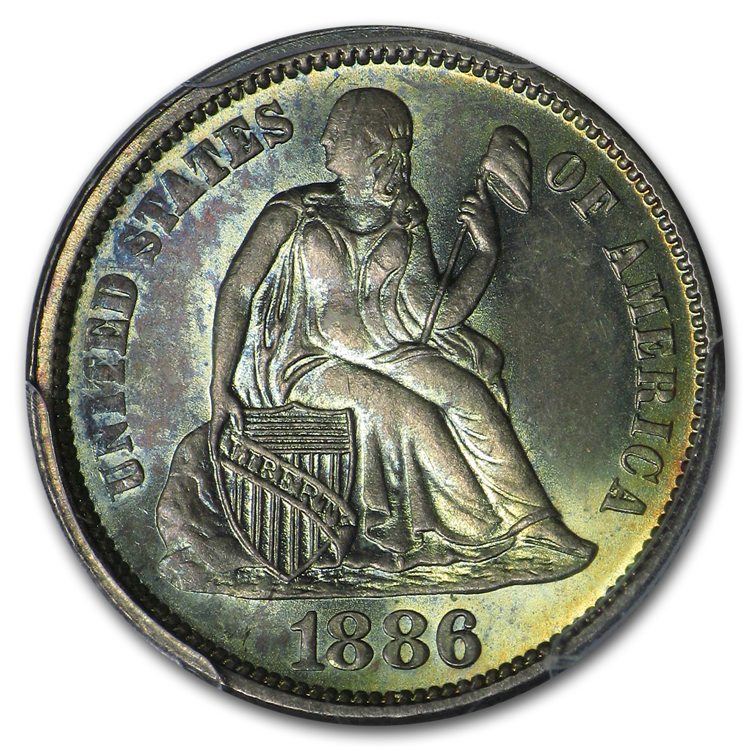 1886 Liberty Seated Dime MS-65 PCGS (CAC)