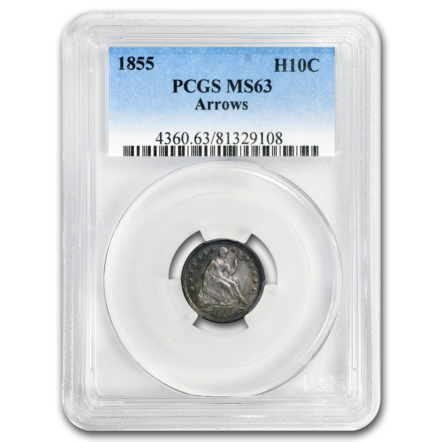 1855 Liberty Seated Half Dime Arrows MS-63 PCGS