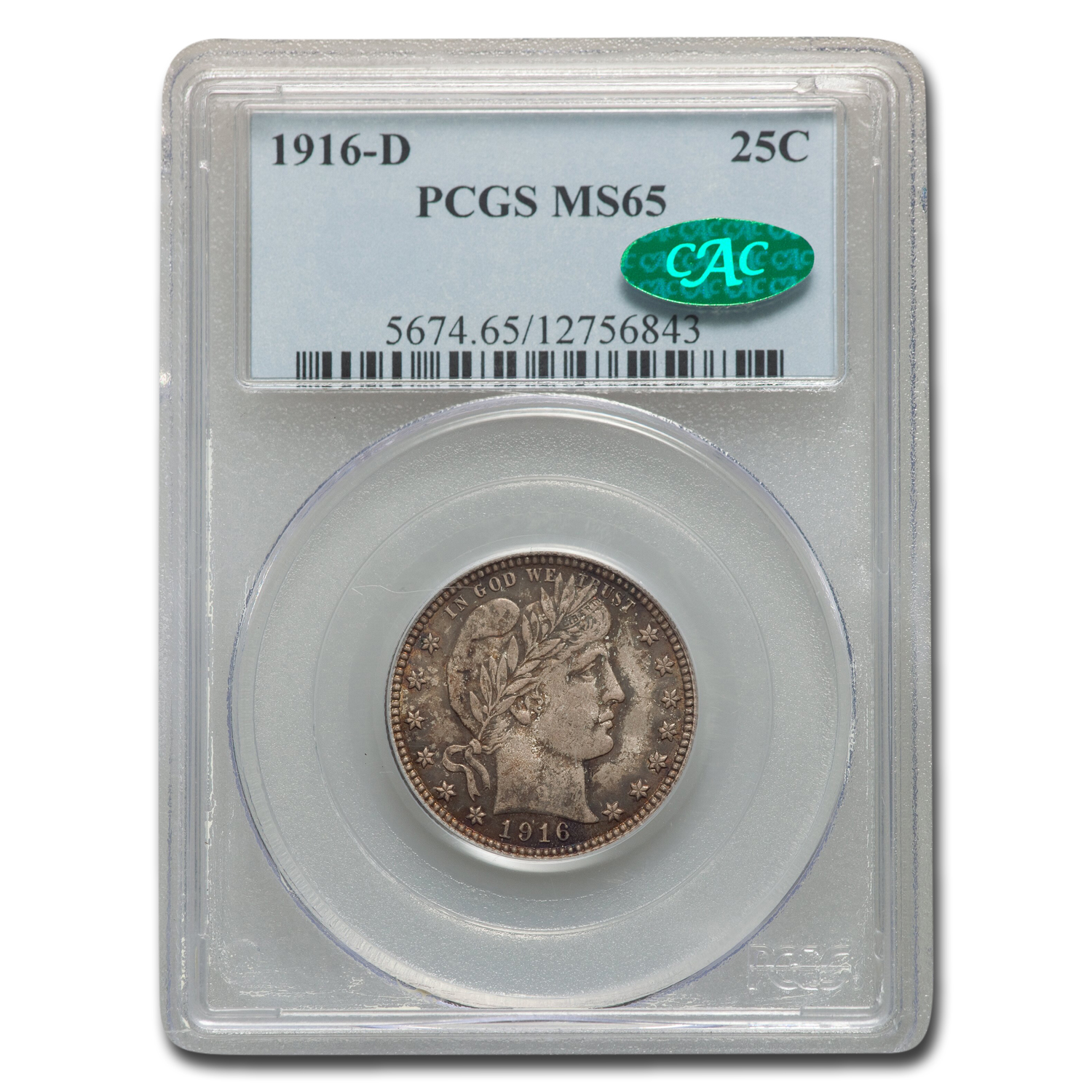 1916-D Barber Quarter MS-65 PCGS (CAC)
