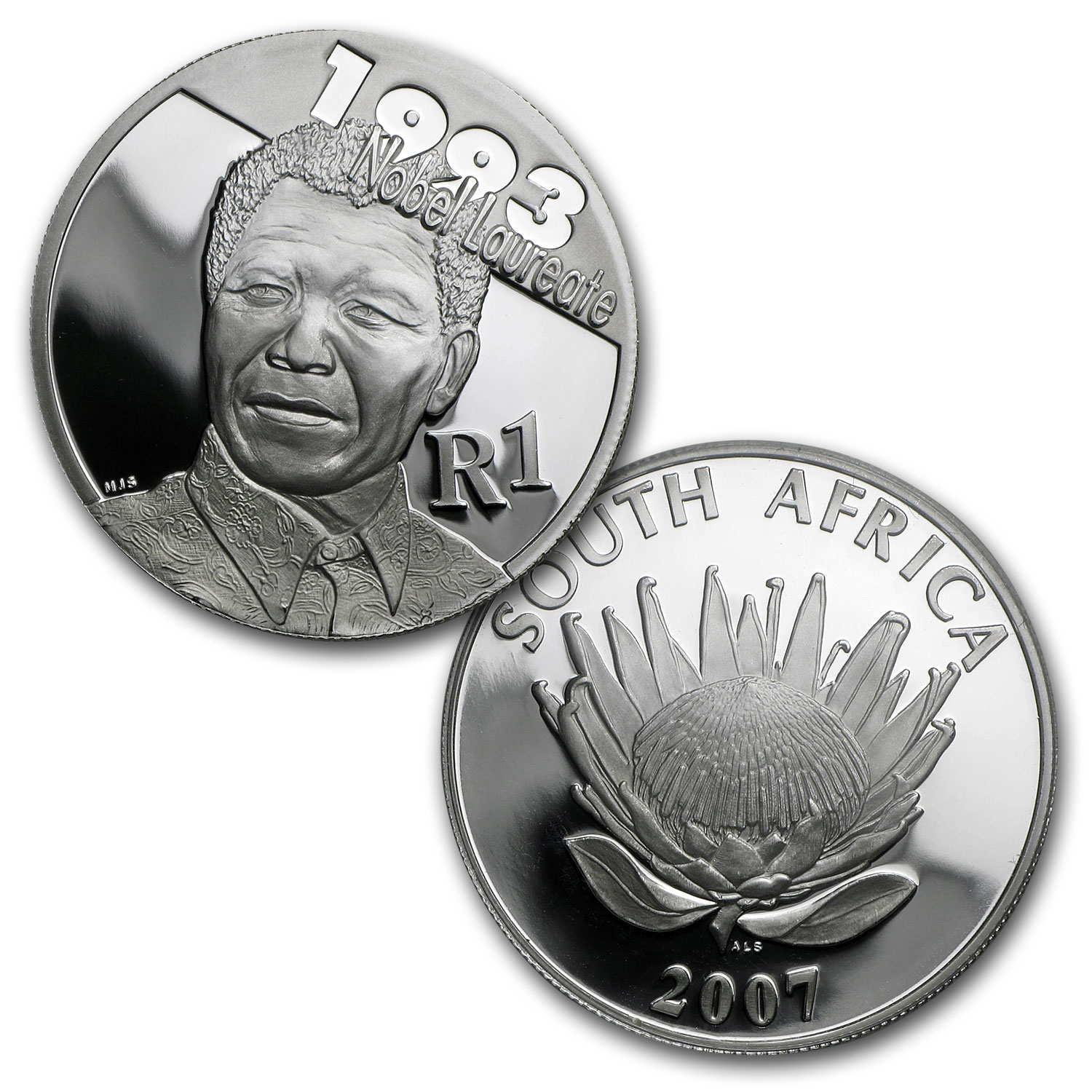 2007 South Africa 5-Coin Mandela/de Klerk Protea Set Proof