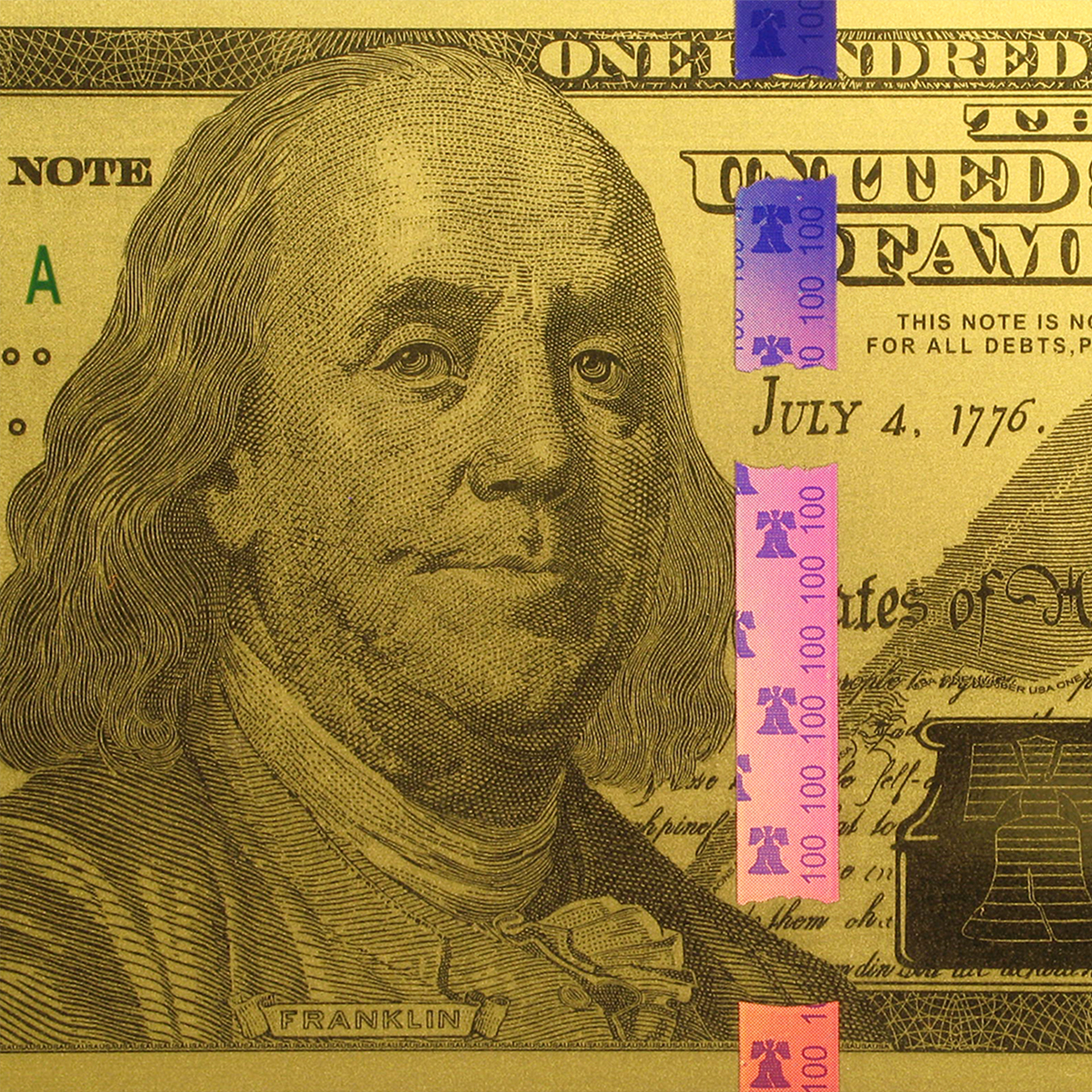1 gram Gold Note - $100 Replica (Benjamin Franklin Design, 24K)