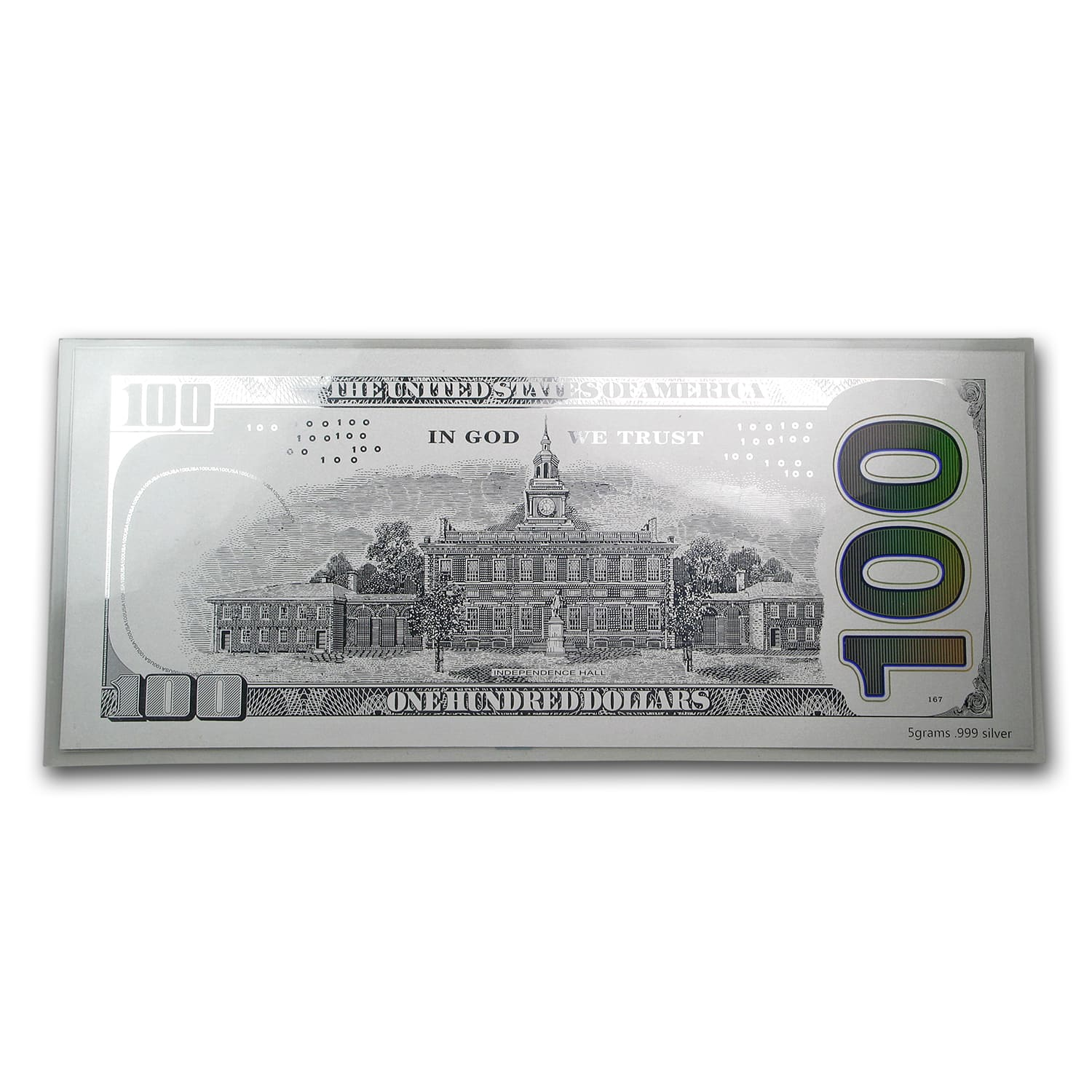 5 gram Silver Note - $100 Bill (Benjamin Franklin Design, .999)