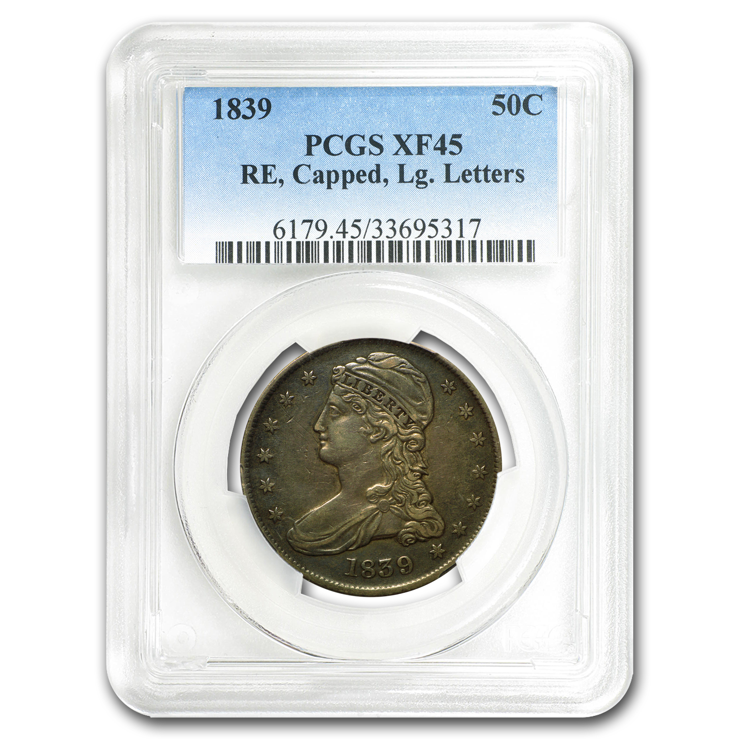 1839 Reeded Edge Half Dollar Large Letters XF-45 PCGS