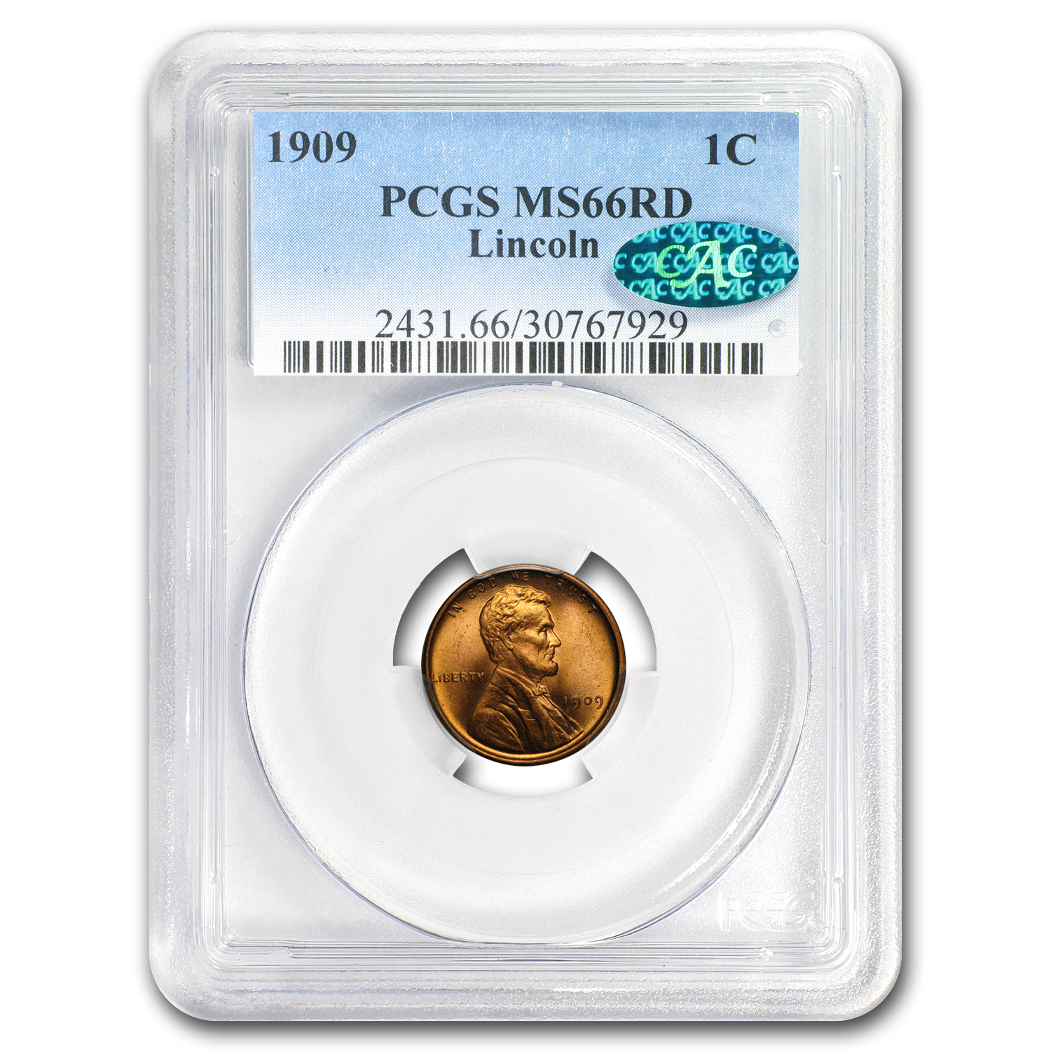 1909 Lincoln Cent MS-66 PCGS (Red, CAC)