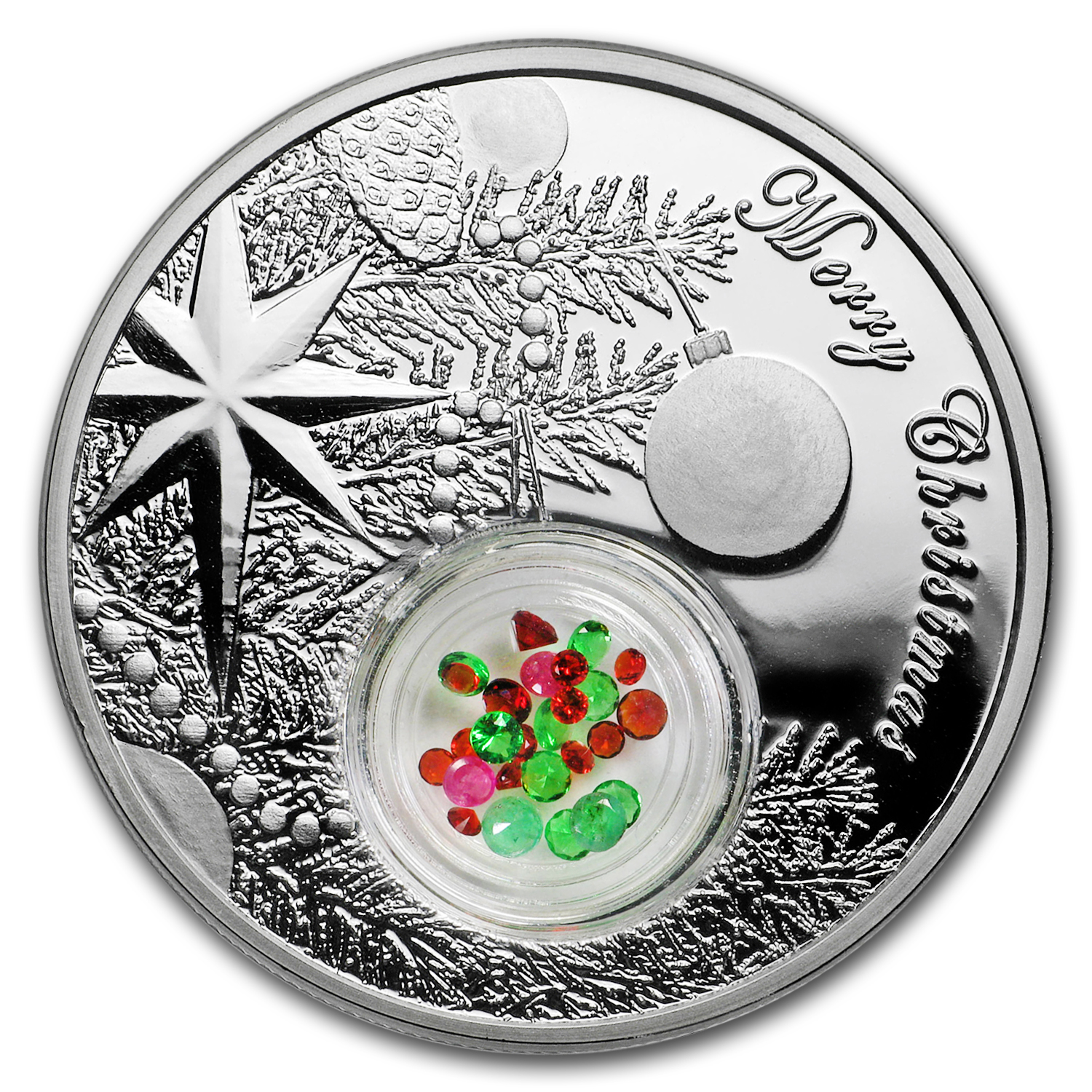 2016 Niue 1 oz Silver $2 Christmas Tree Jeweled Ball (w/Filigree)