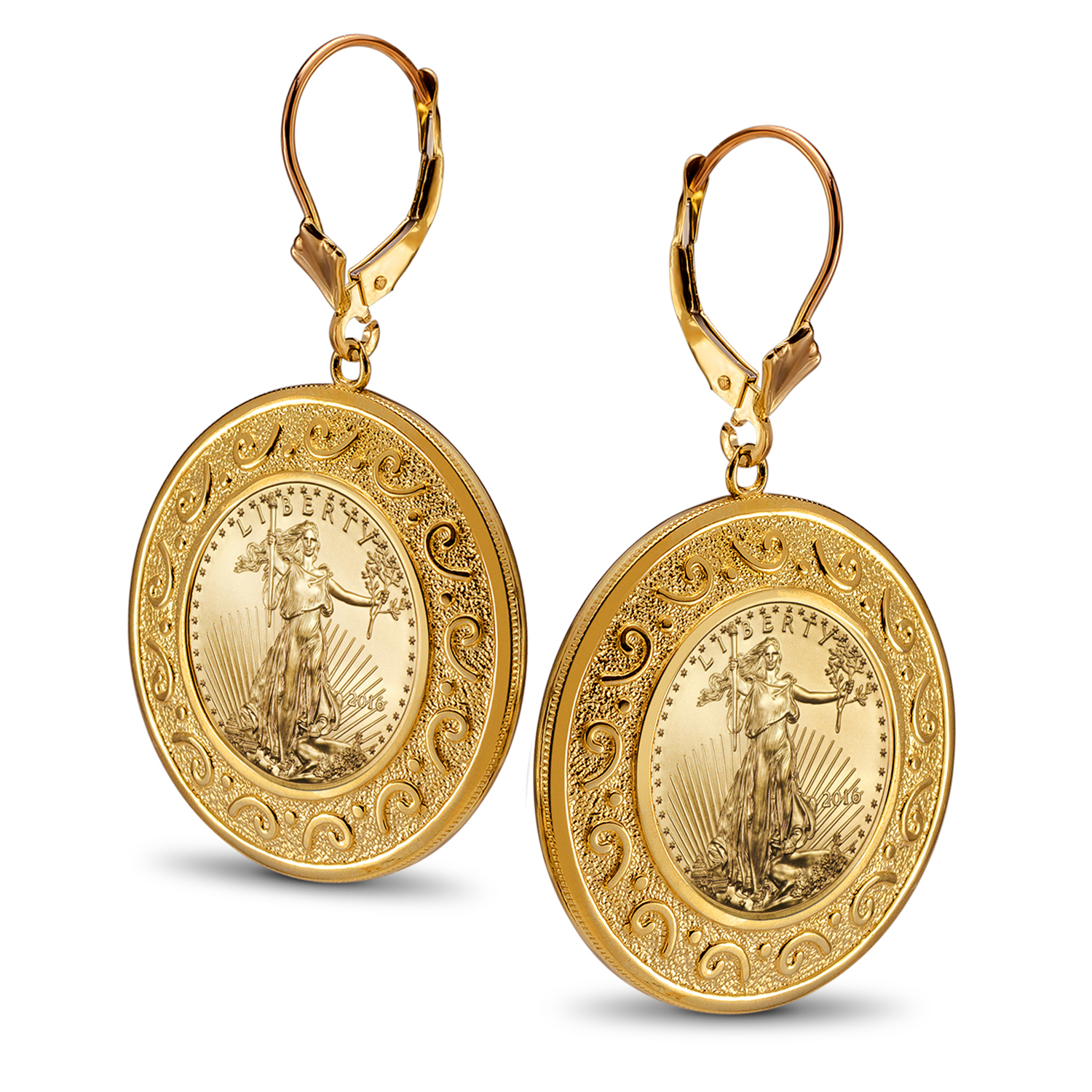 2016 1/10 oz Gold Eagle Etruscan Dangle Coin Earrings