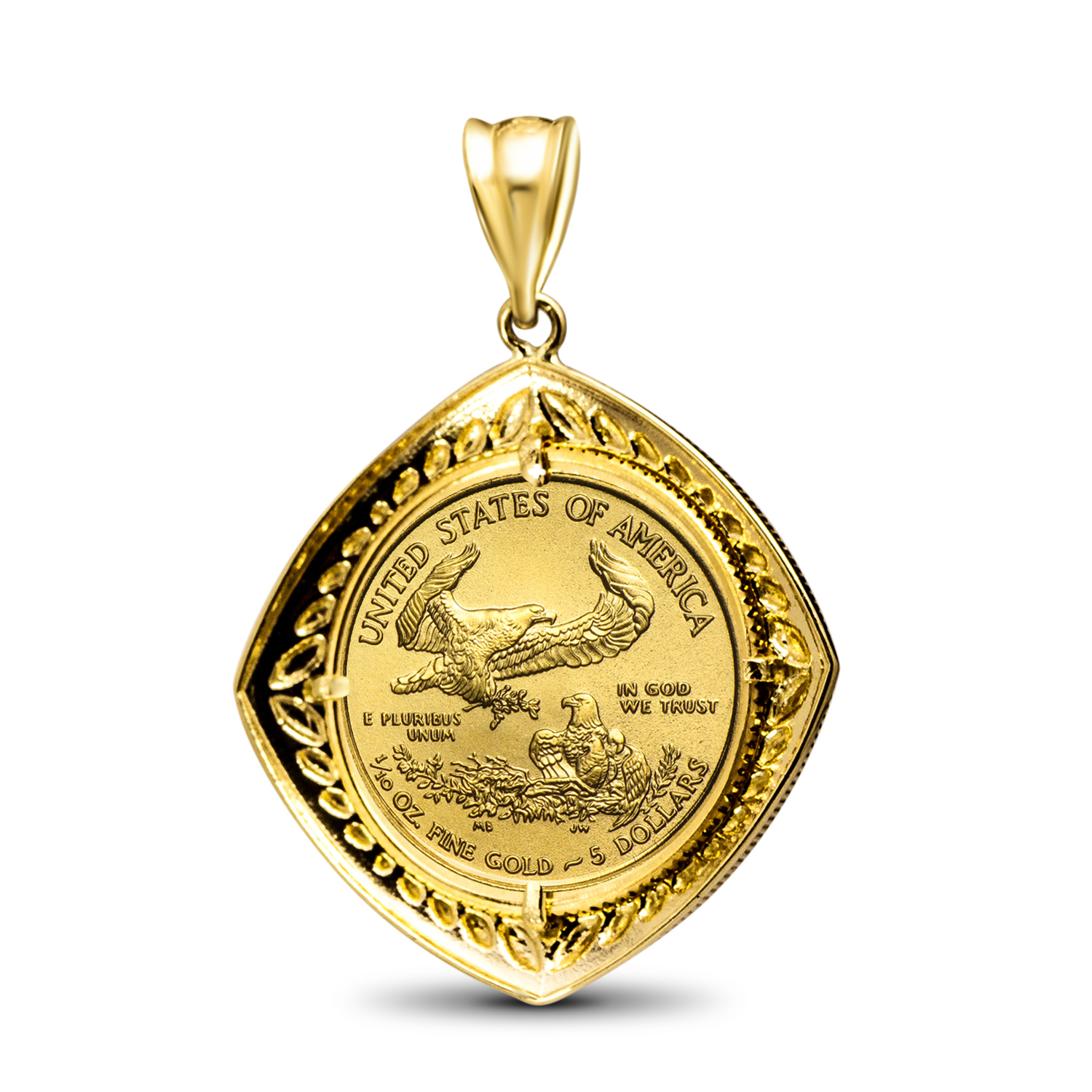 2016 1/10 oz Gold Eagle Pendant (Diamond-Shaped Bezel)