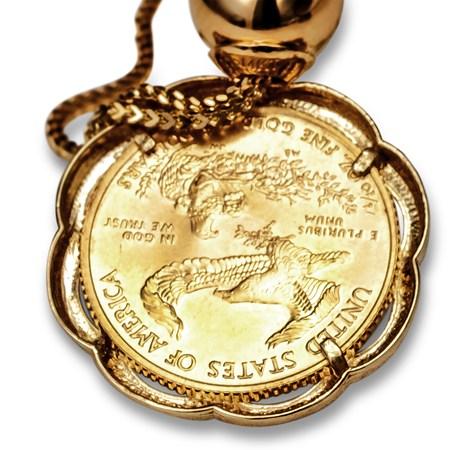 2016 1 10 Oz Gold Eagle Pendant Scalloped Bezel W Chain