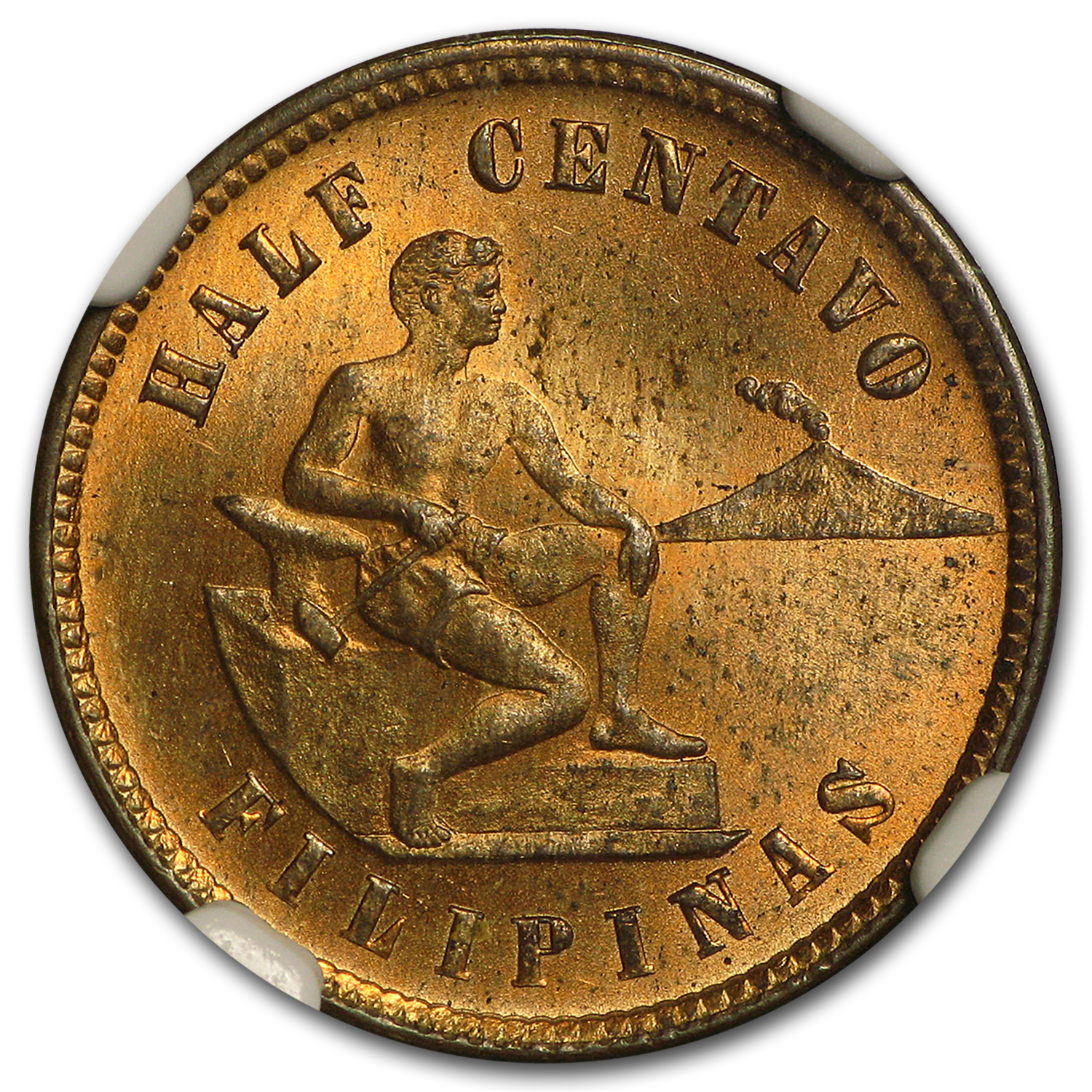 1904 Philippines 1/2 Centavo MS-64 NGC (Red/Brown)