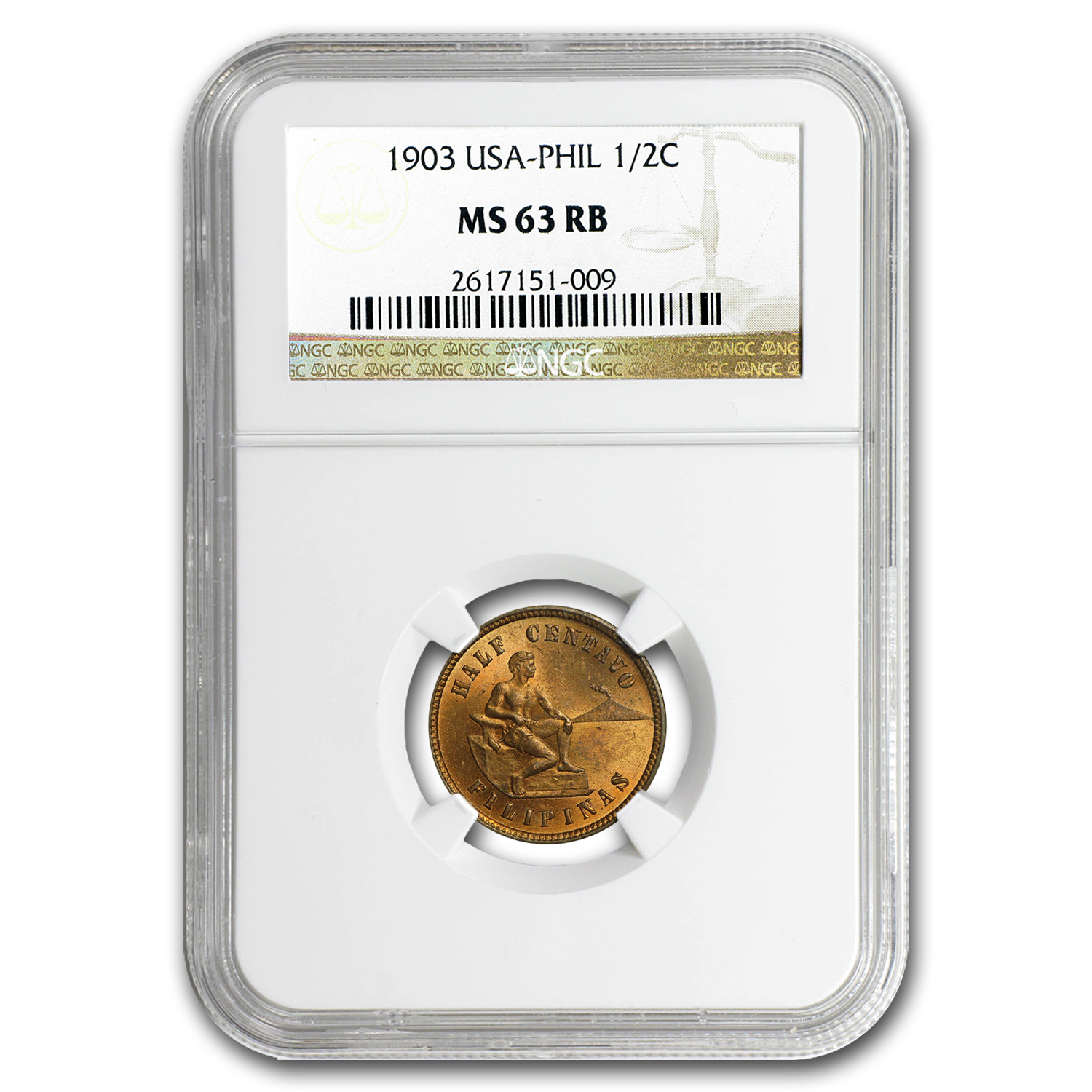 1903 Philippines 1/2 Centavo MS-63 NGC (Red/Brown)