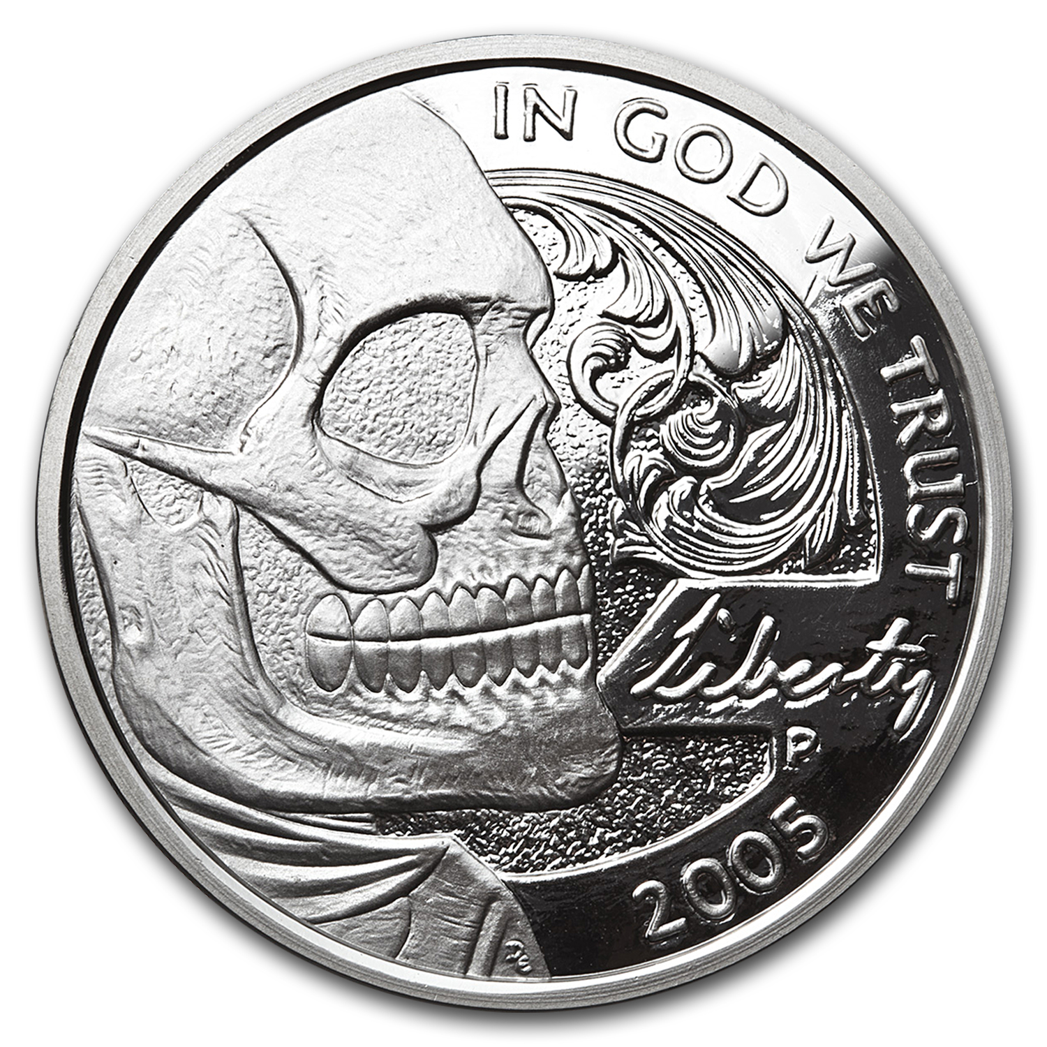 1 oz Silver Round - Hobo Nickel Replica (Jefferson Skull)