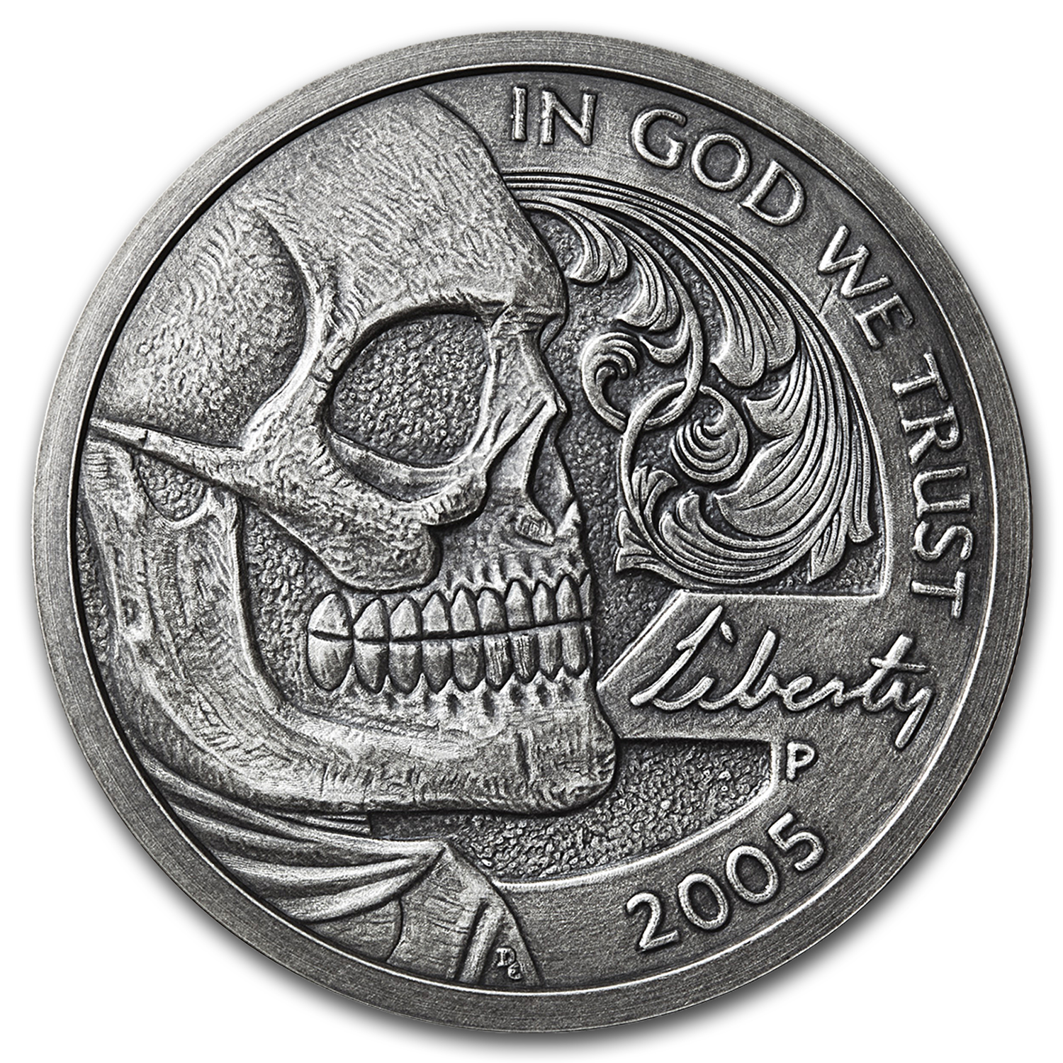 5 oz Silver Antique Hobo Nickel Replica (Jefferson Skull)