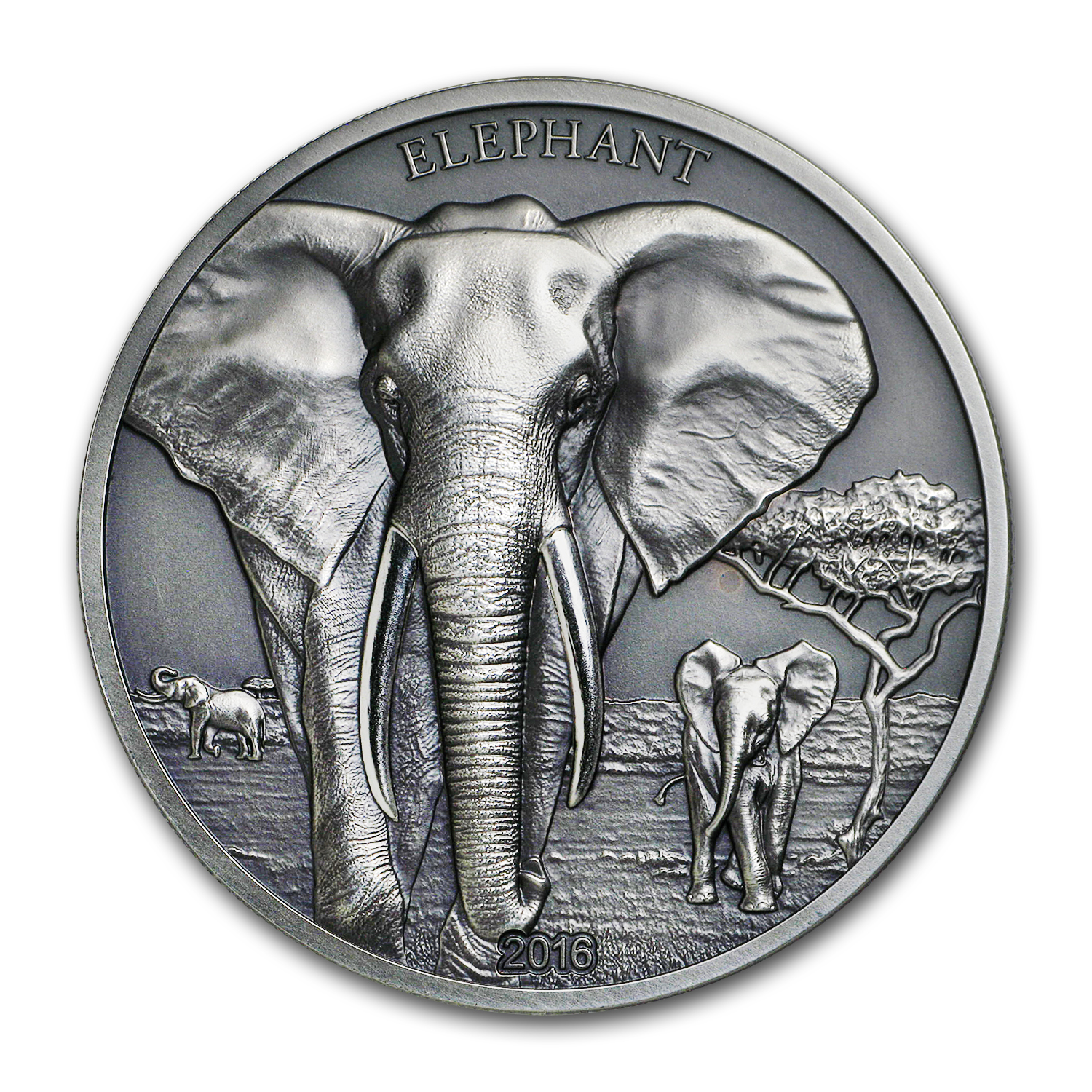 2016 Tanzania 1 oz Silver High Relief Animals (Elephant)