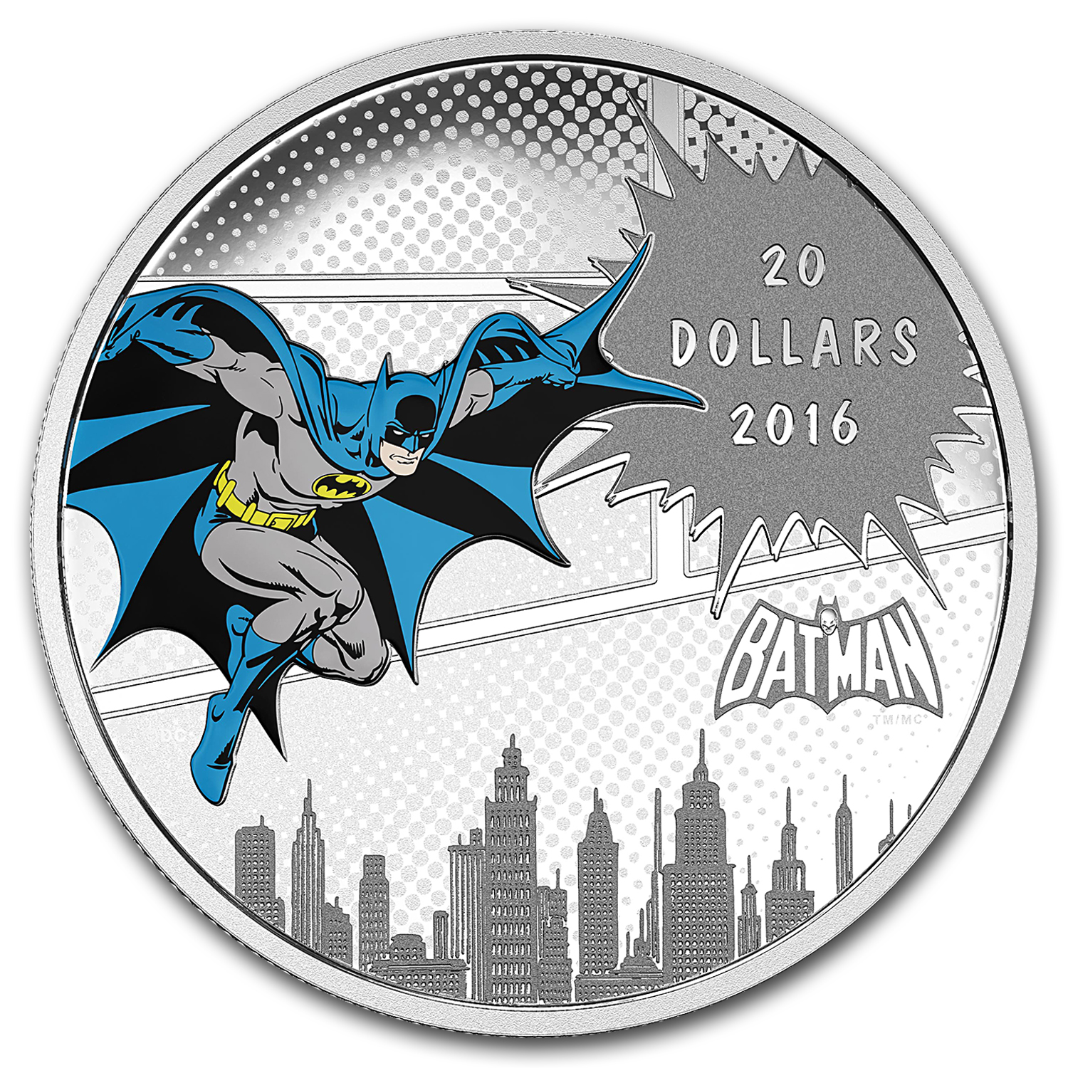 2016 Canada Pf 1 oz Silver $20 Comics Originals: The Dark Knight