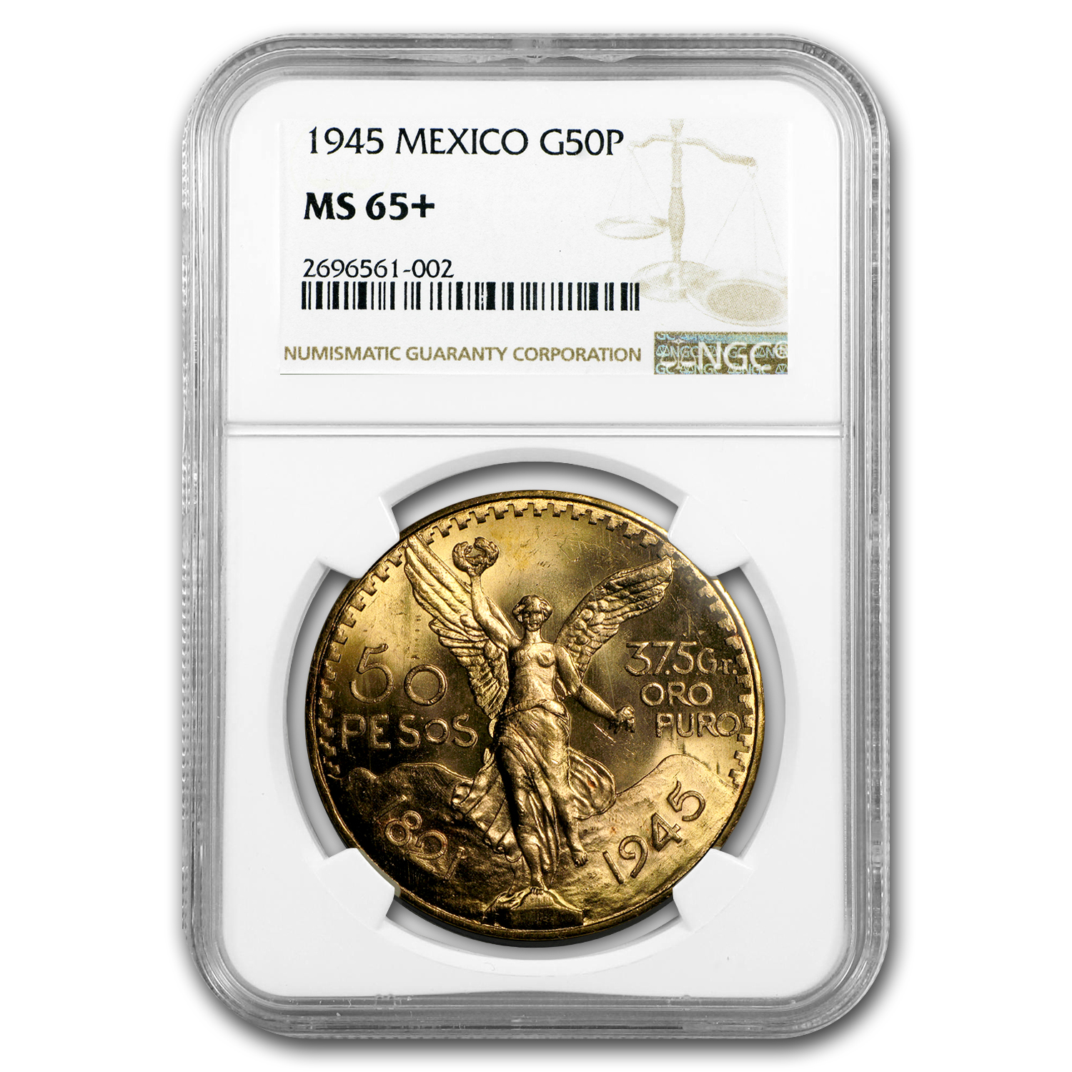 1945 Mexico Gold 50 Pesos MS-65+ NGC