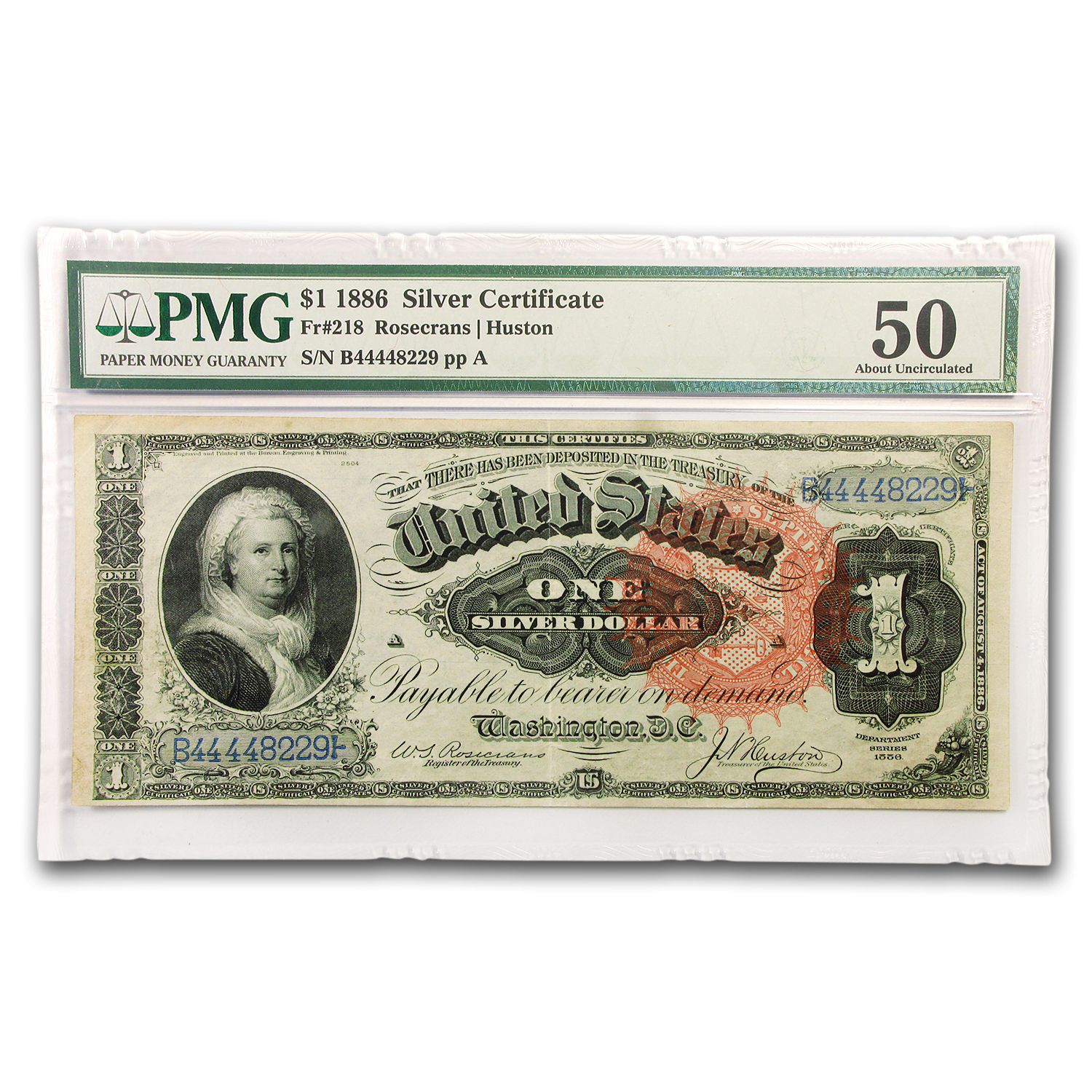 1886 $1.00 Silver Certificate Martha Washington AU-50 PMG