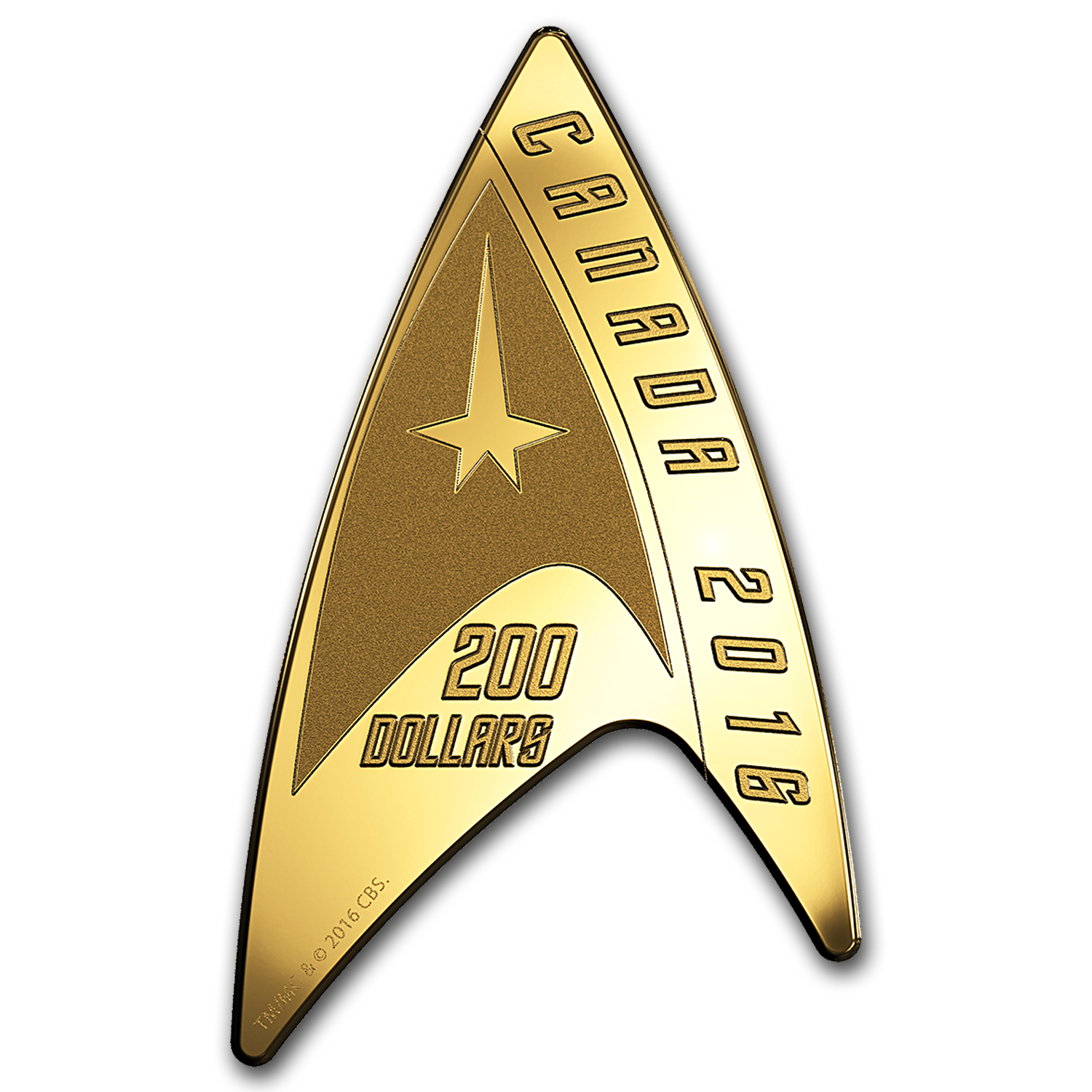 2016 Canada 1/2 oz Proof Gold $200 Star Trek Delta Shaped Coin