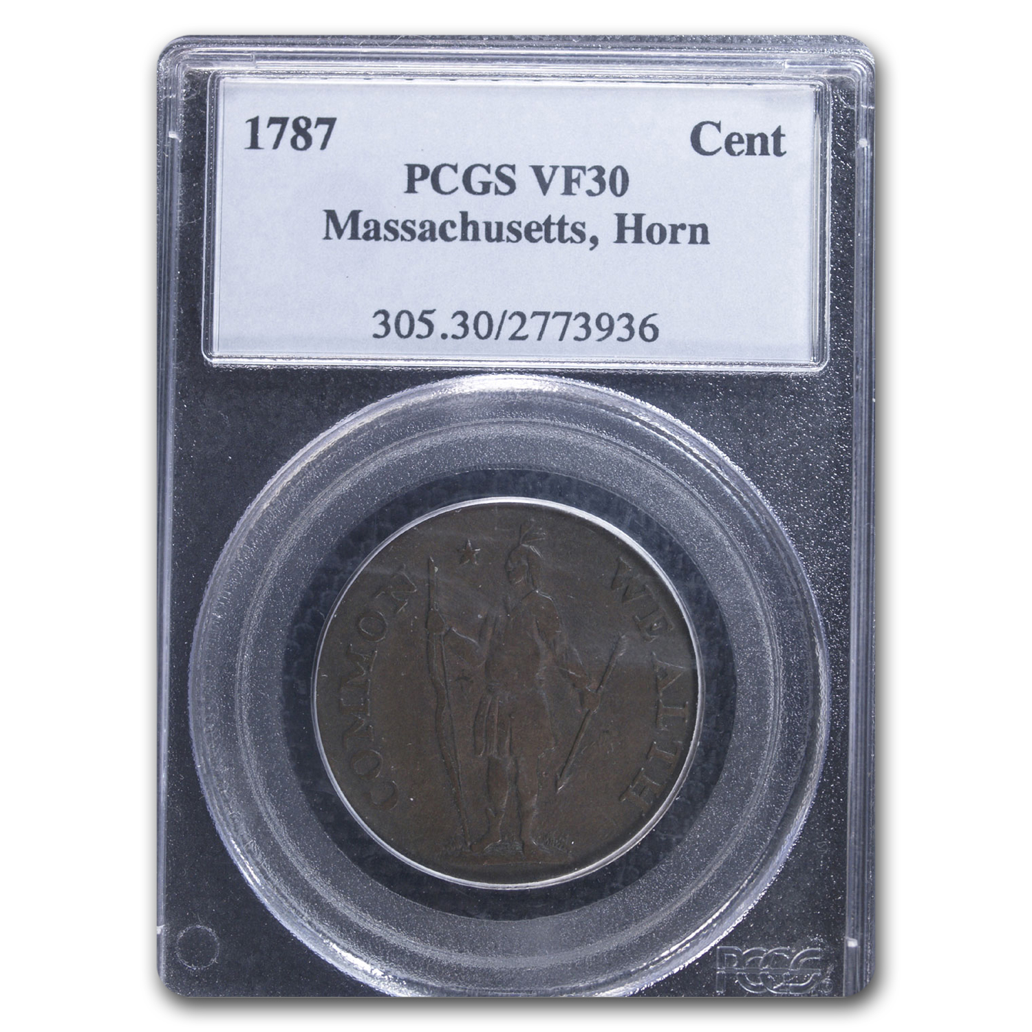 1787 Massachusetts Cent VF-30 PCGS (Horned Eagle)