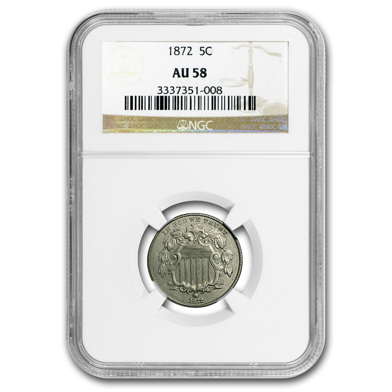 1872 Shield Nickel AU-58 NGC