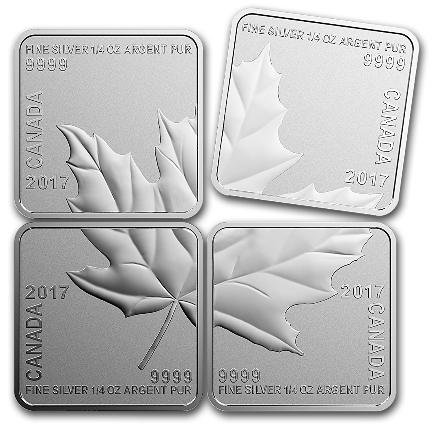 2017 Canada 1 oz Reverse Proof Silver Maple Leaf Quartet