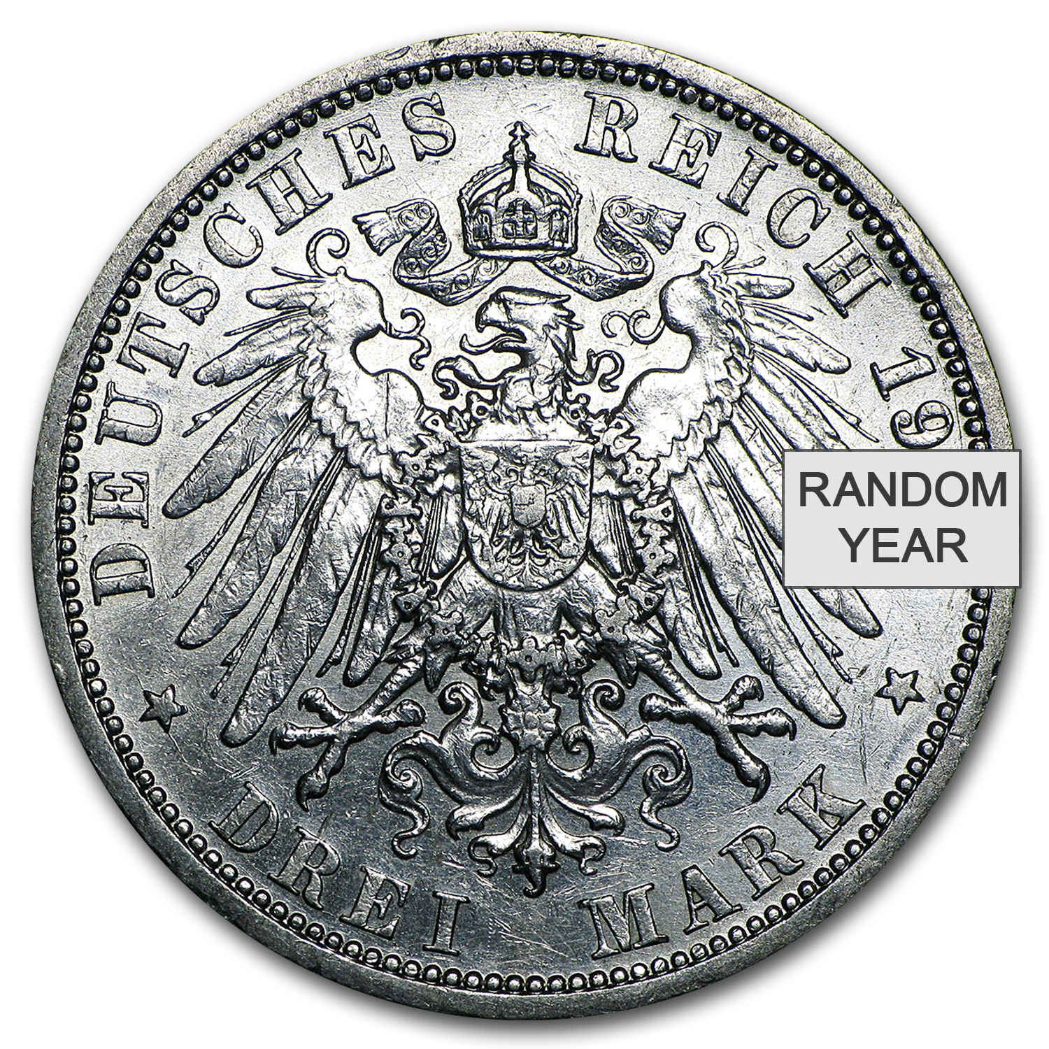 1908-1912 Germany 3 Mark Prussia William II Avg Circ