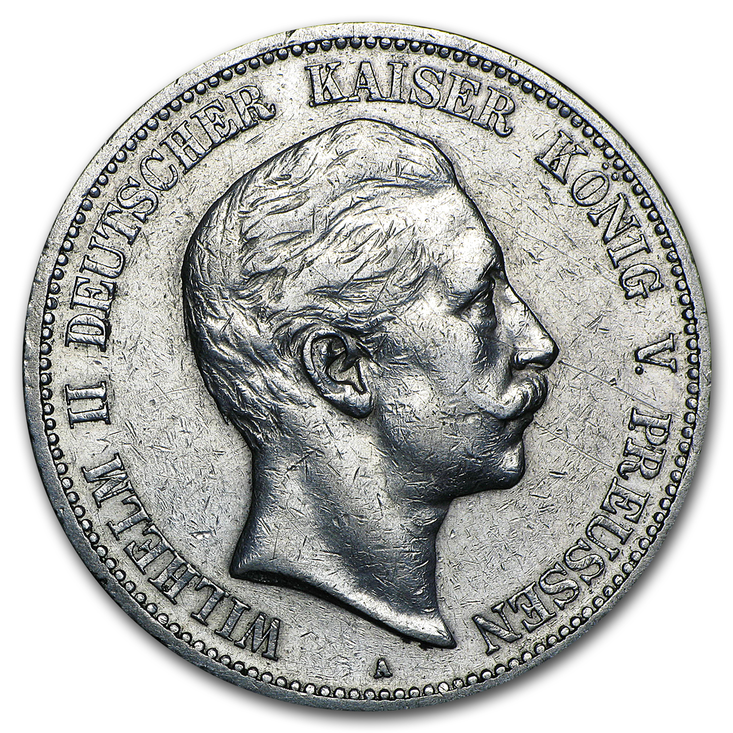 1891-1912 Germany Silver 5 Mark Prussia William II Avg Circ