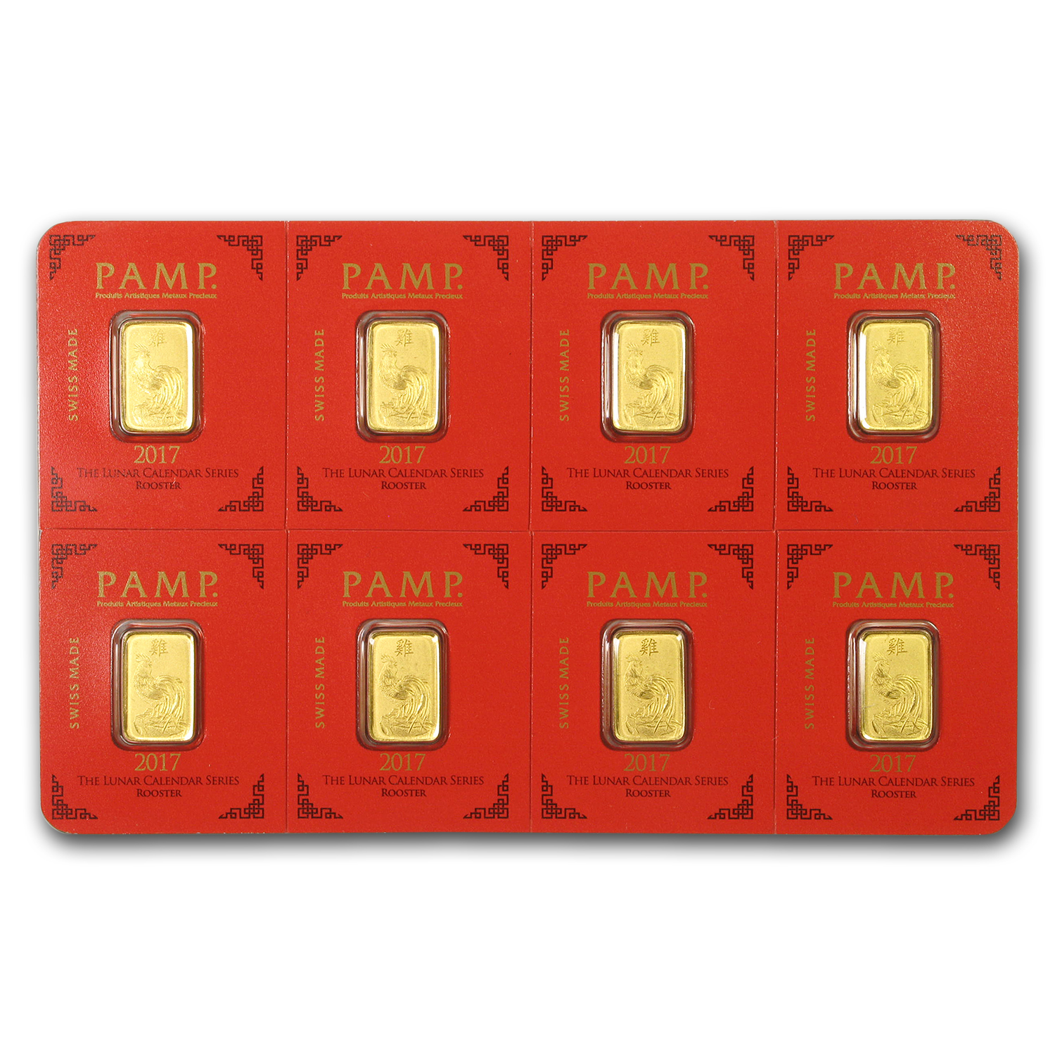 8x 1 gram Gold Bar PAMP Suisse Rooster Multigram+8 (In Assay)