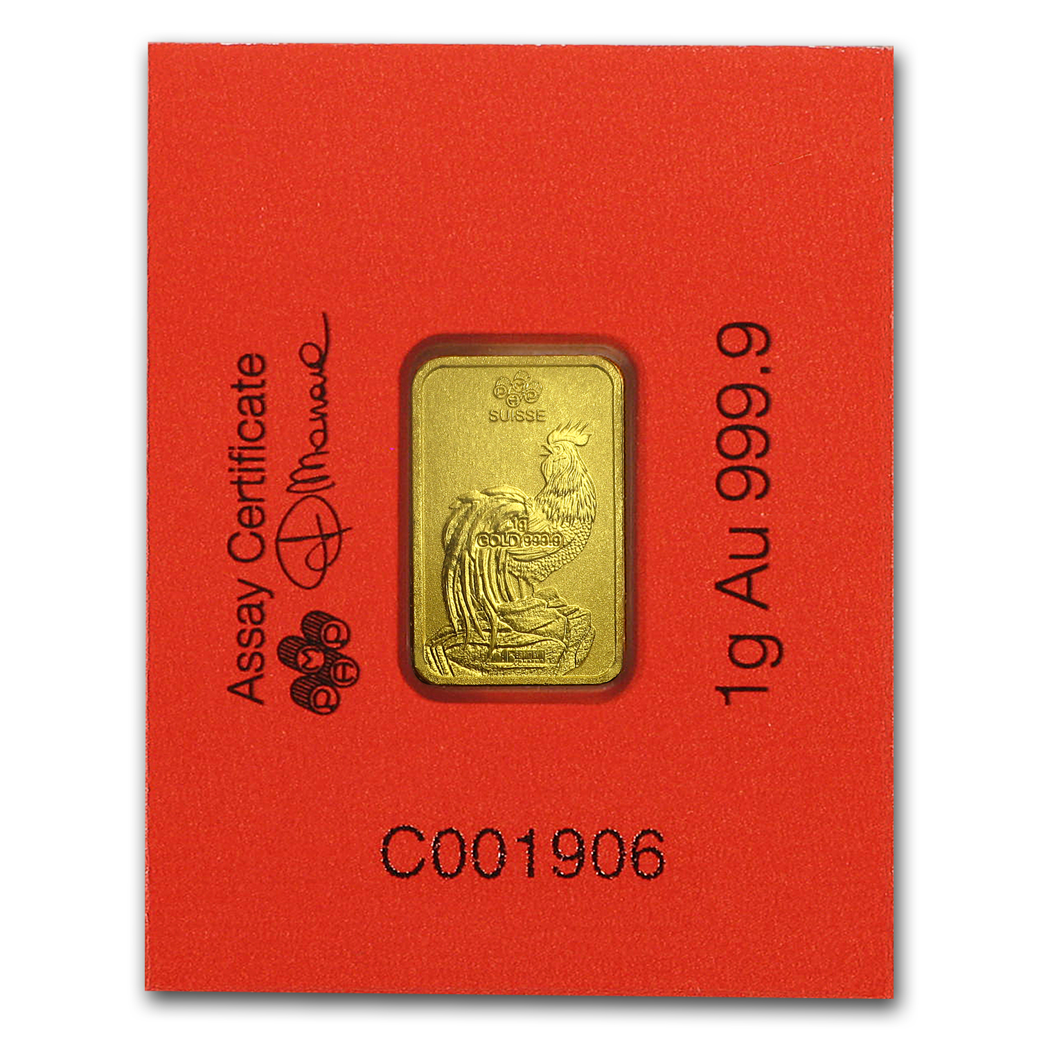 1 Gram Gold Bar Pamp Suisse Rooster Multigram 8 In