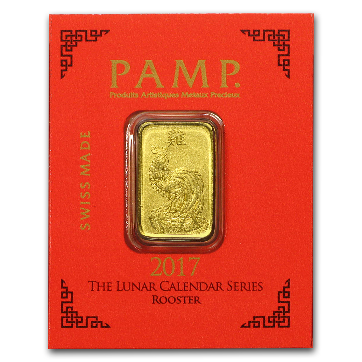 1 gram Gold Bar - PAMP Suisse Rooster Multigram+8 (In Assay)