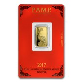5 gram Gold Bar - PAMP Suisse Year of the Rooster (In Assay)