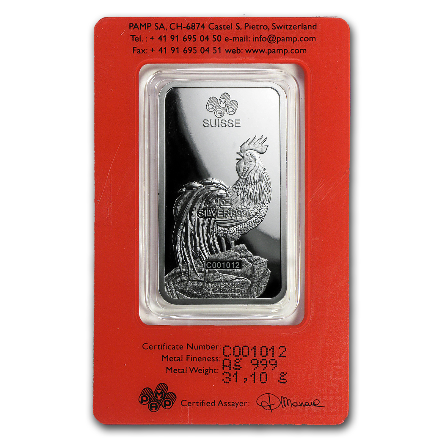 Buy 1 Oz Silver Bar Pamp Suisse Year Of The Rooster