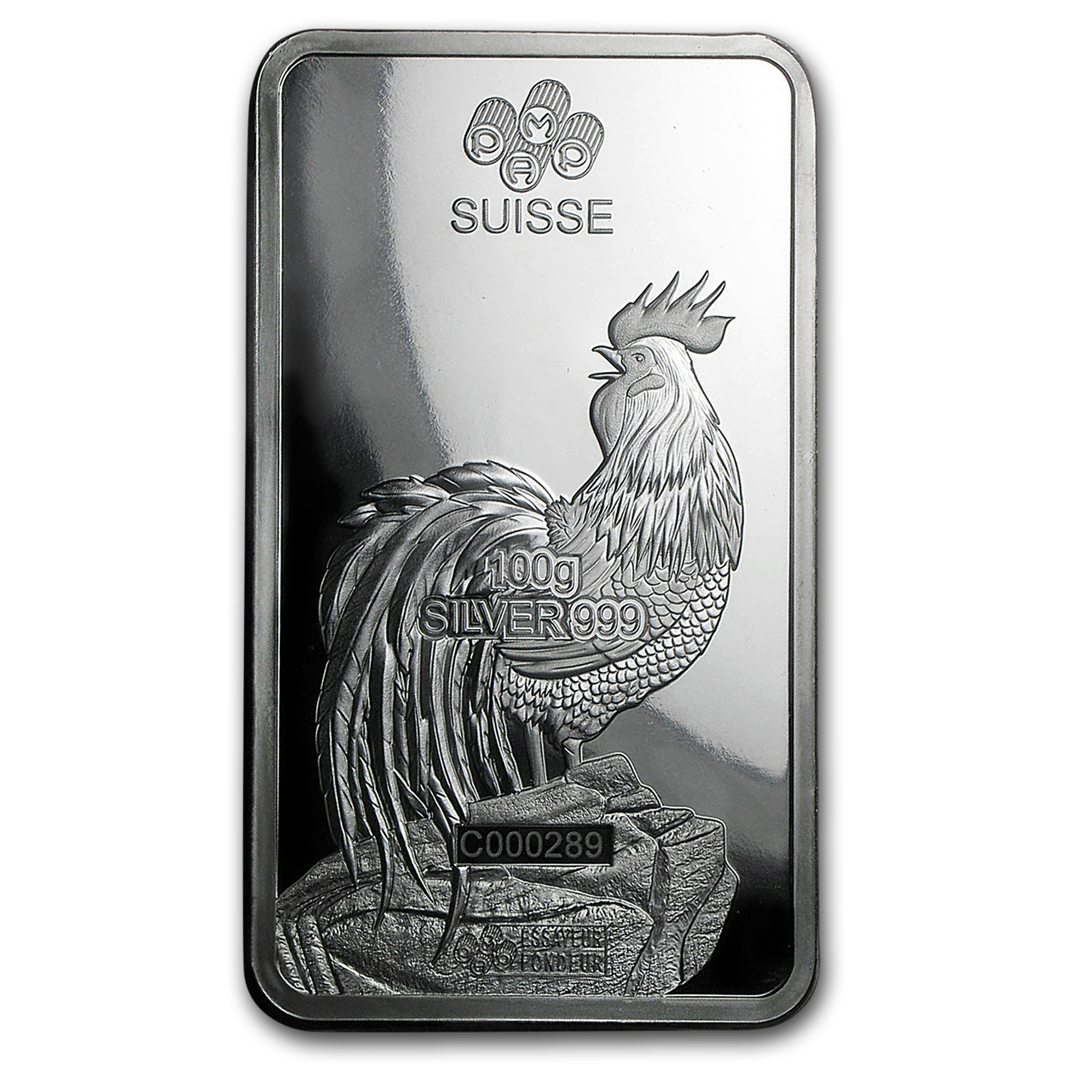 100 gram Silver Bar - PAMP Suisse (Year of the Rooster)