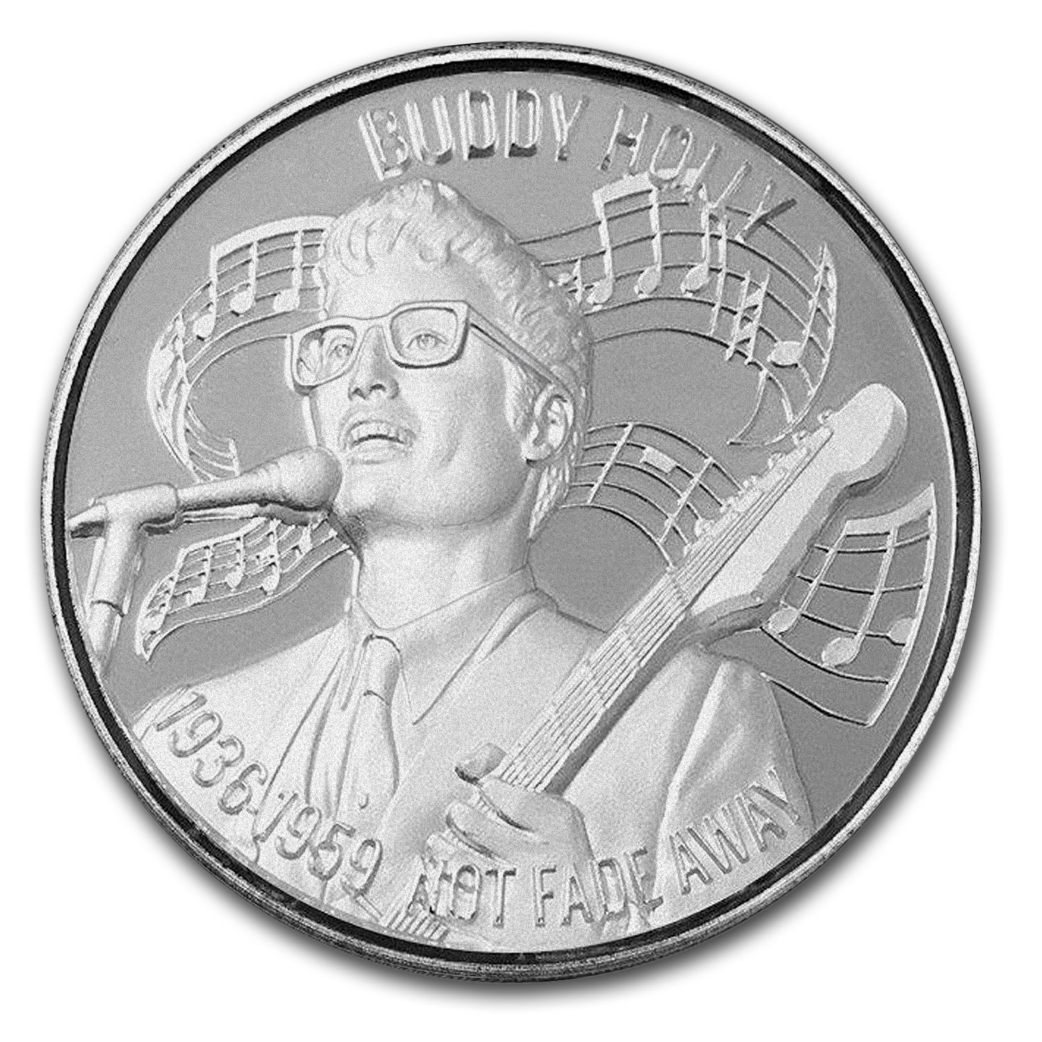 2 oz Silver Round - Buddy Holly (Ultra High Relief)