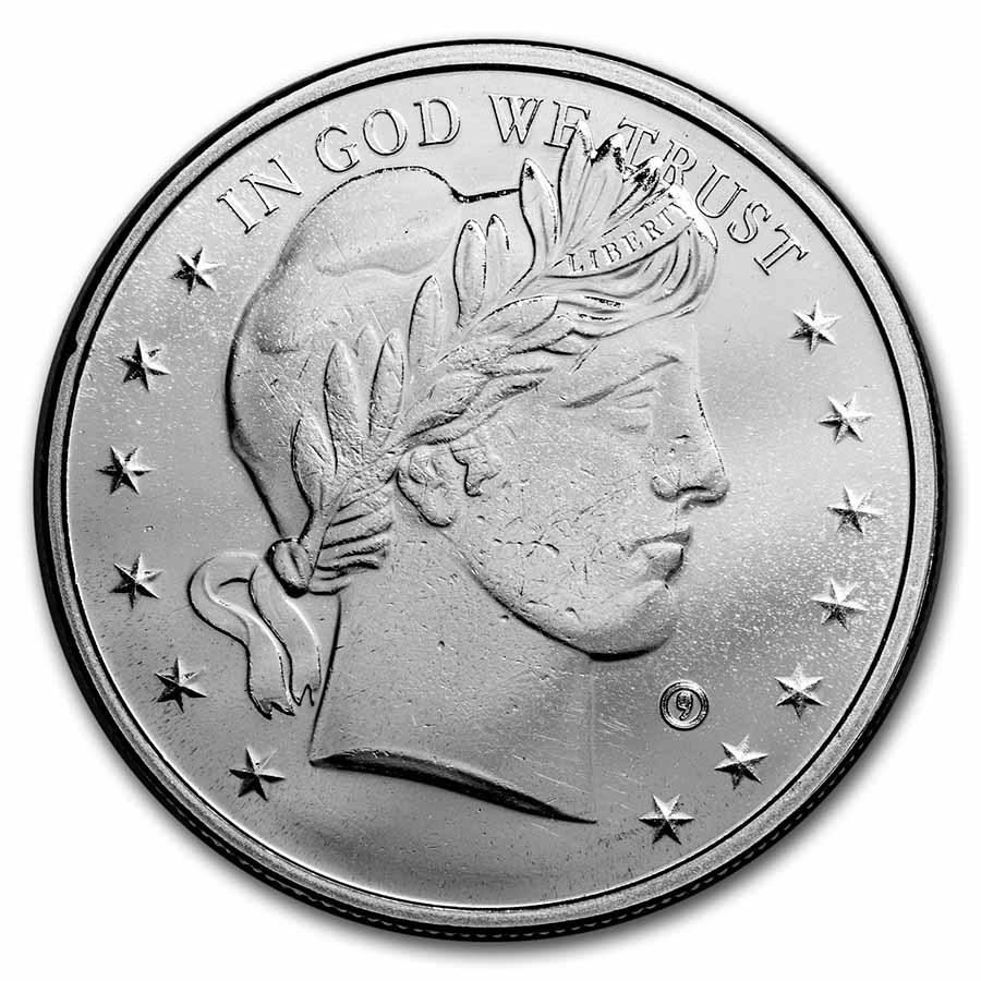 1 Oz Silver Round Barber Dollar 1 Oz Bullion Silver